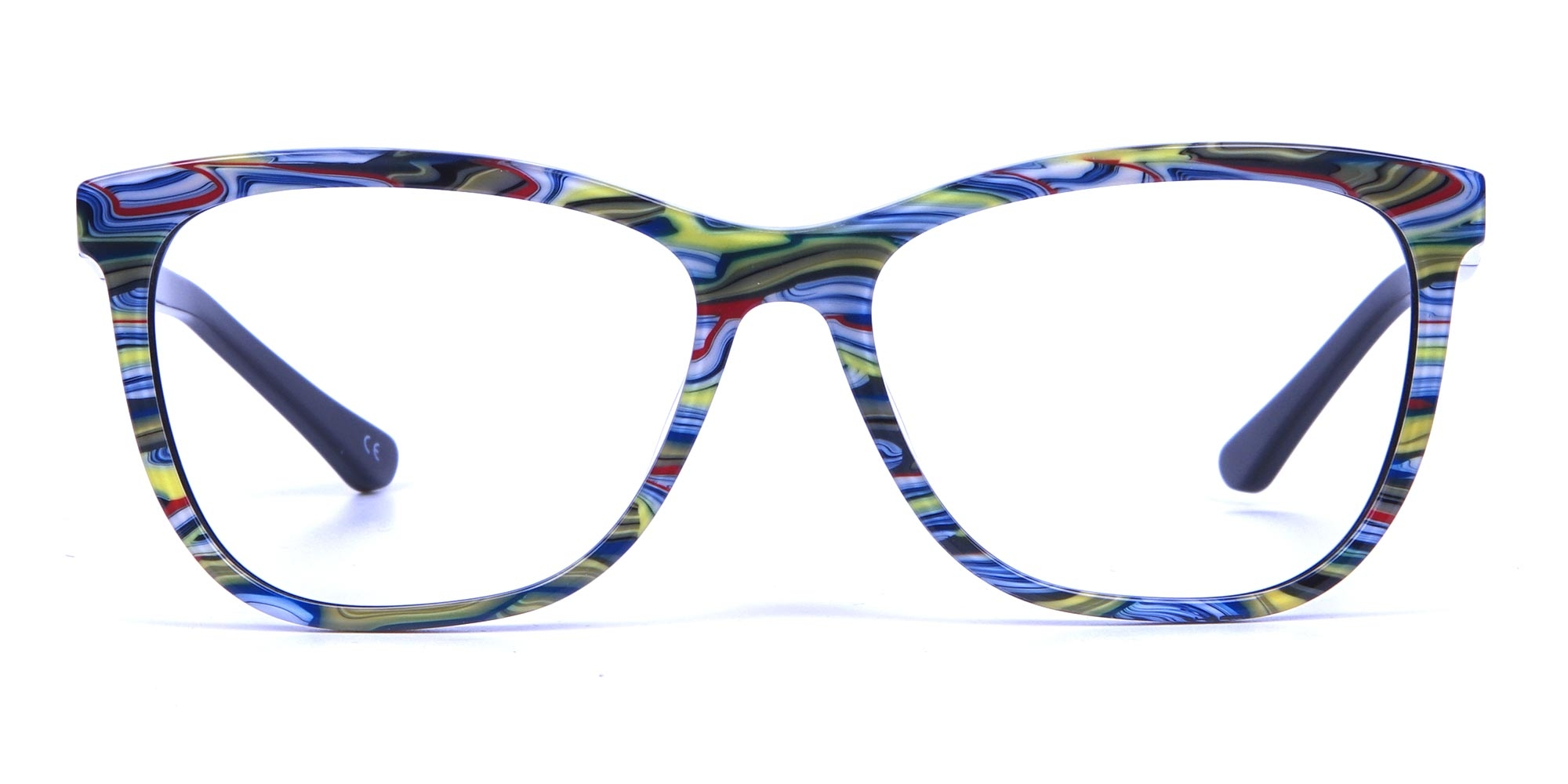 Green and Blue Oversized Hipster Glasses