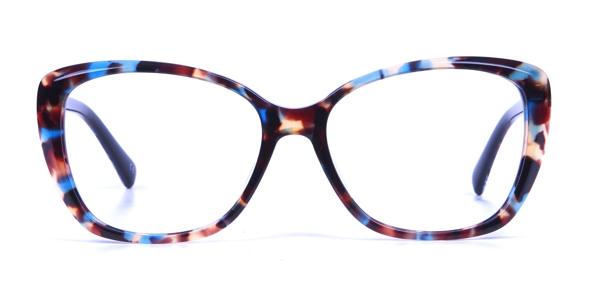 Butterfly Glasses in Blue Red Tortoiseshell Cat-Eye