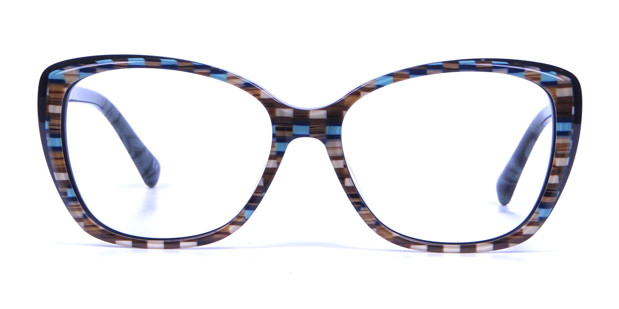Beige Glasses in Oversized Frame with Mint Check