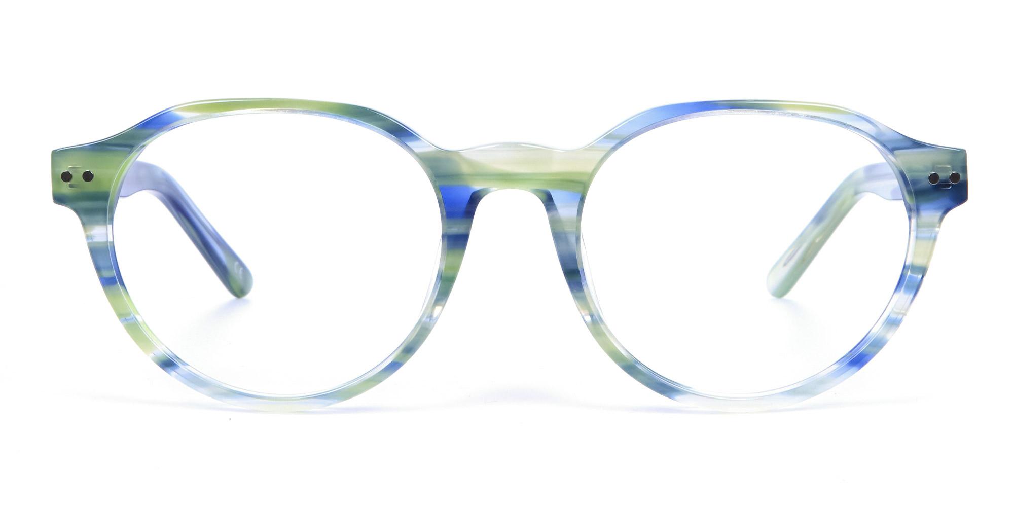 Forest Green & Ocean Blue Hipster Eyeglasses