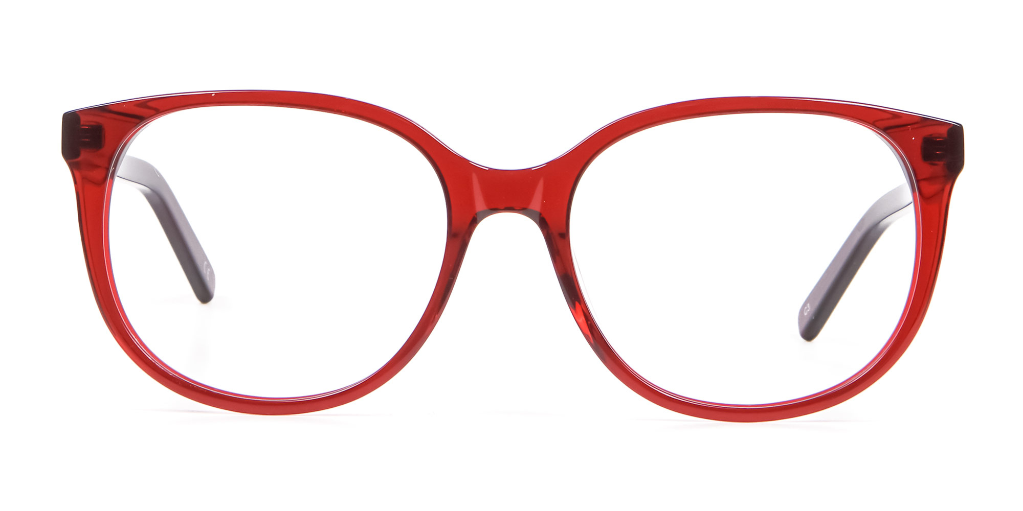 Round Cat Eye Glasses in Cherry Red
