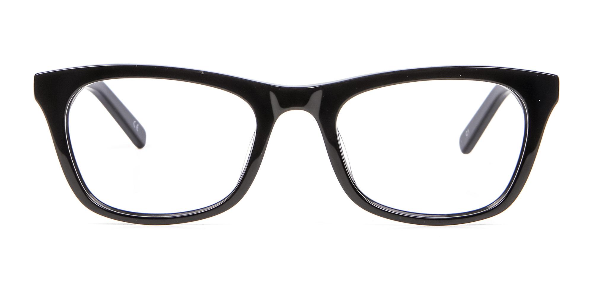 Glossy Black Glasses Frame in Cat-Eye and Wayfarer