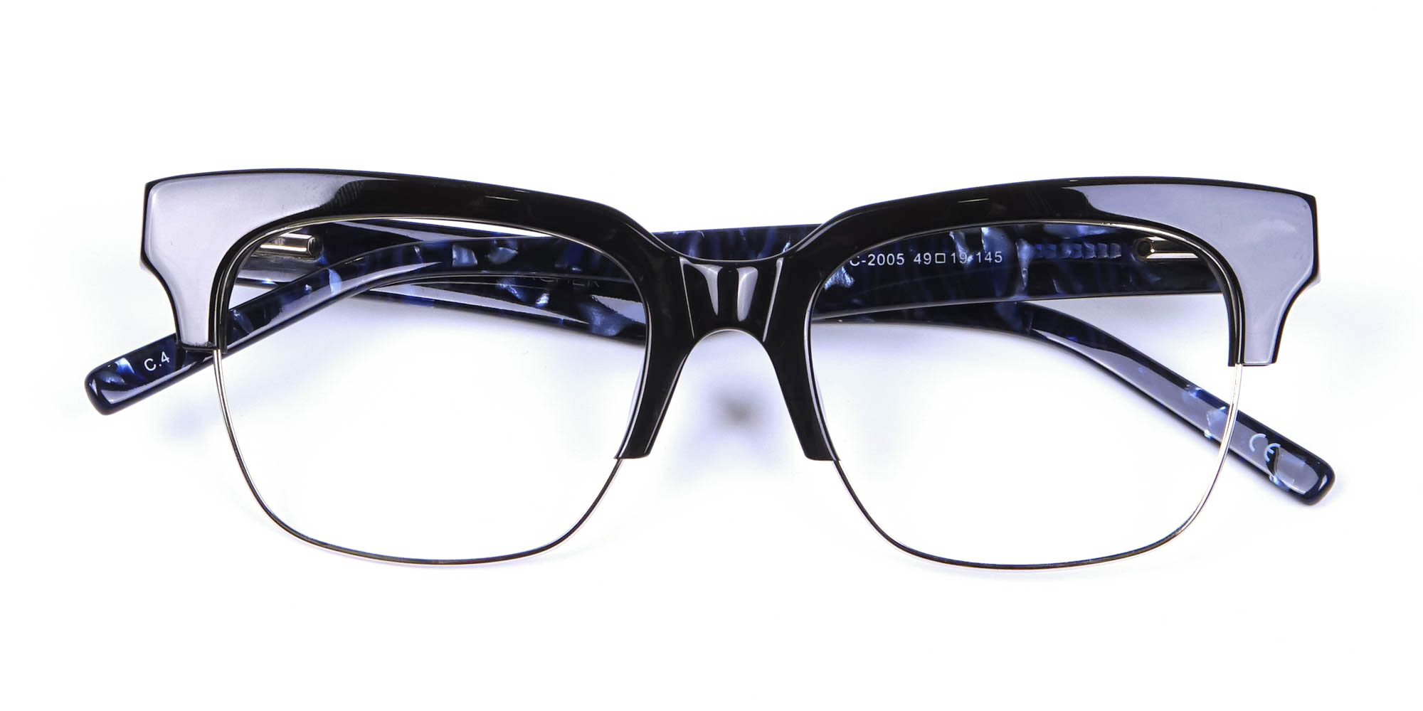 Marbled Black Browline Glasses for oval face shape