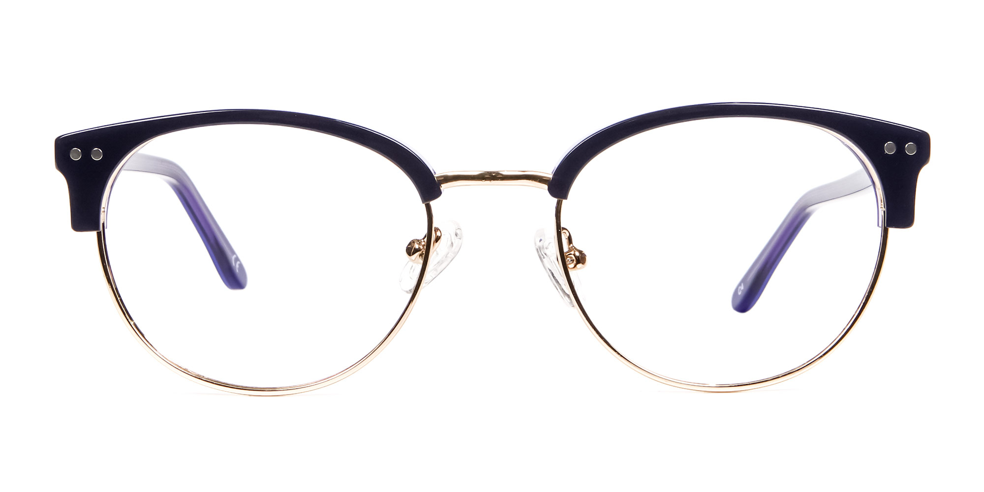 Violet Black Browline Eyeglasses for diamond face shape