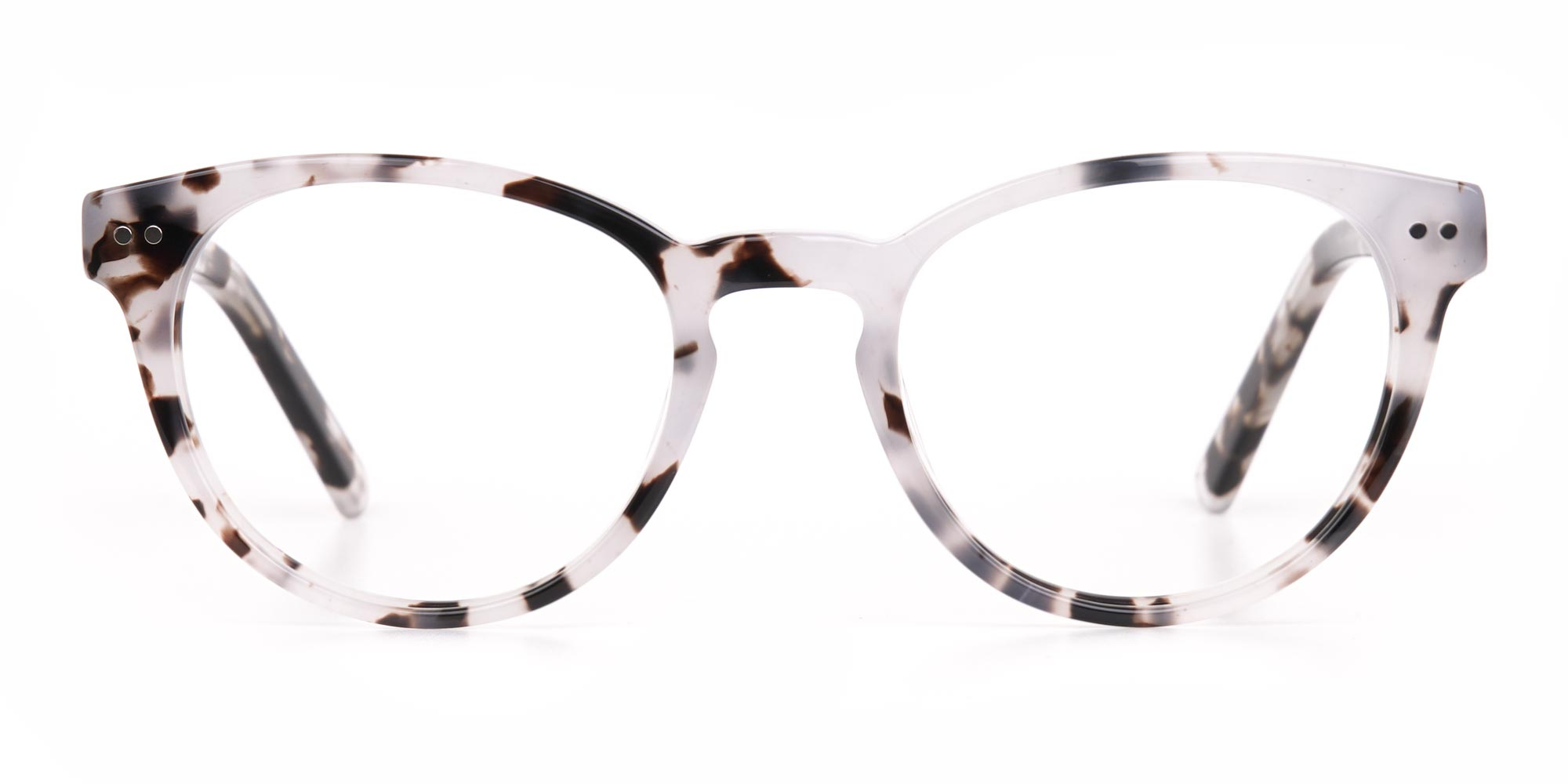 Marble Grey Glasses in Round for Triangle face shape