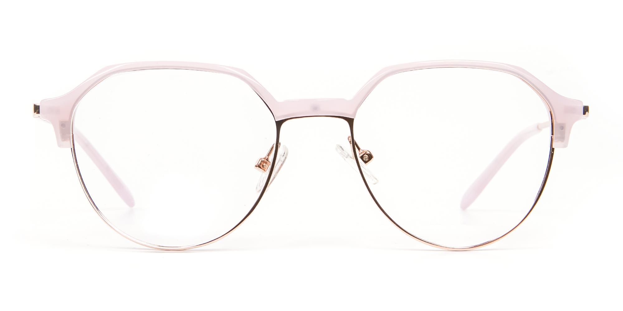Macaron Rose Gold Hexagonal Glasses Frame