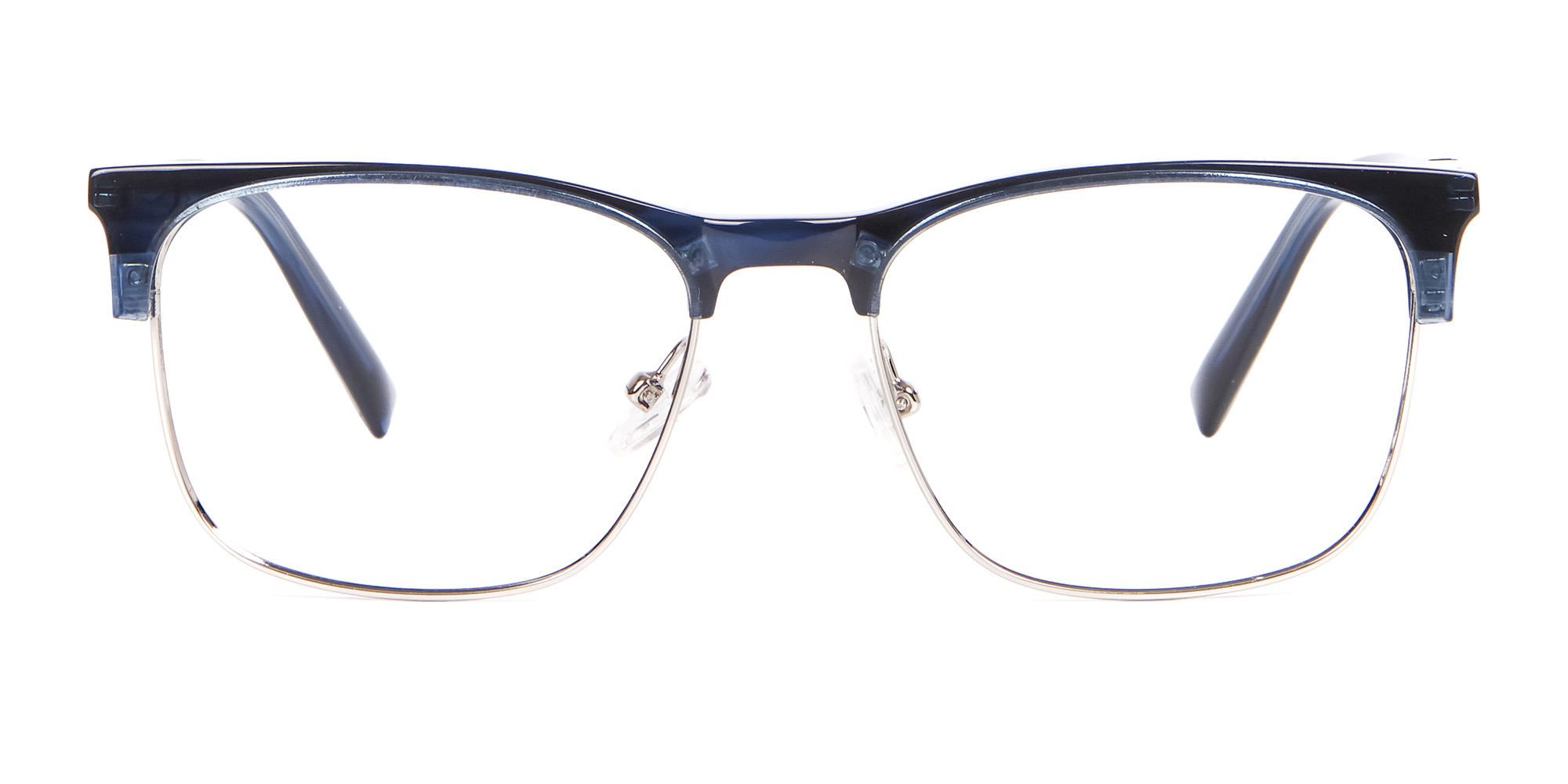 Rusty Blue Eyeglasses in Browline for triangle face shape