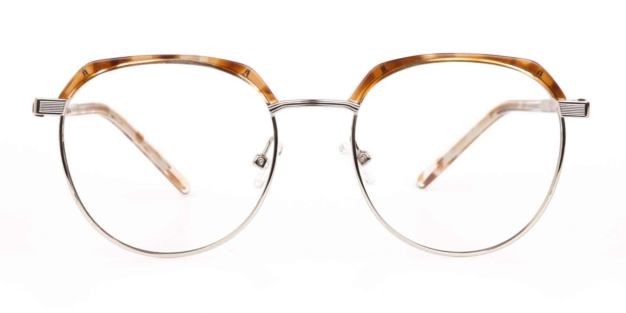 Metal Browline Glasses in Crystal Brown and Tortoiseshell