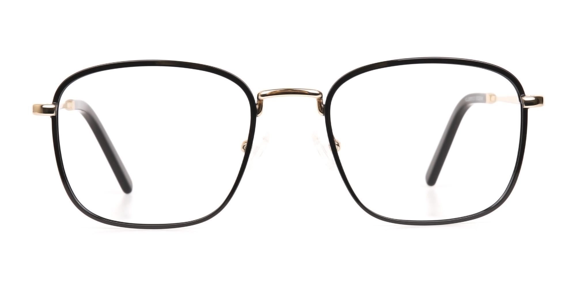 Black and Gold Glasses in Wayfarer Metal