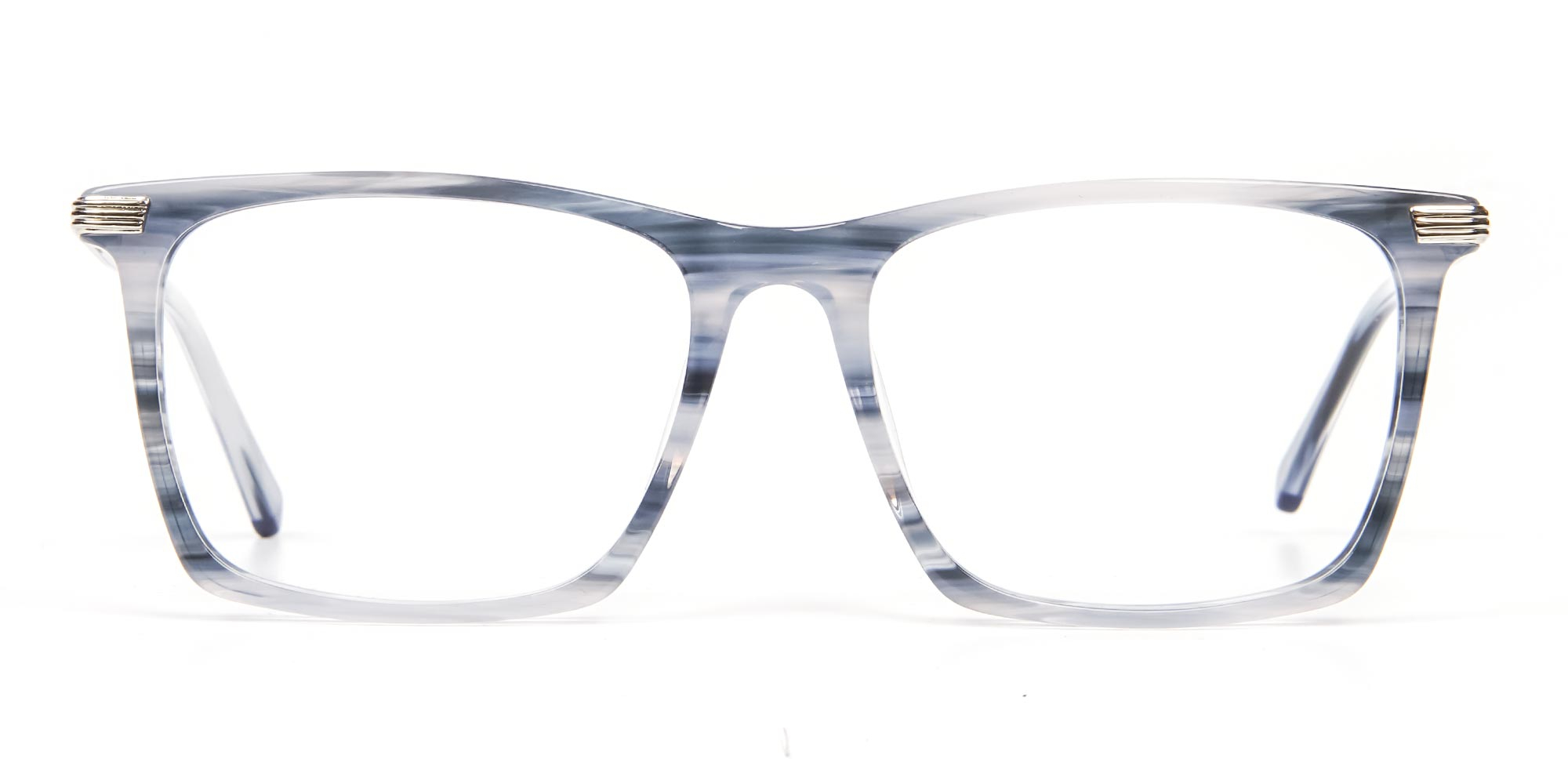 Rectangle Glasses in Silver Blue