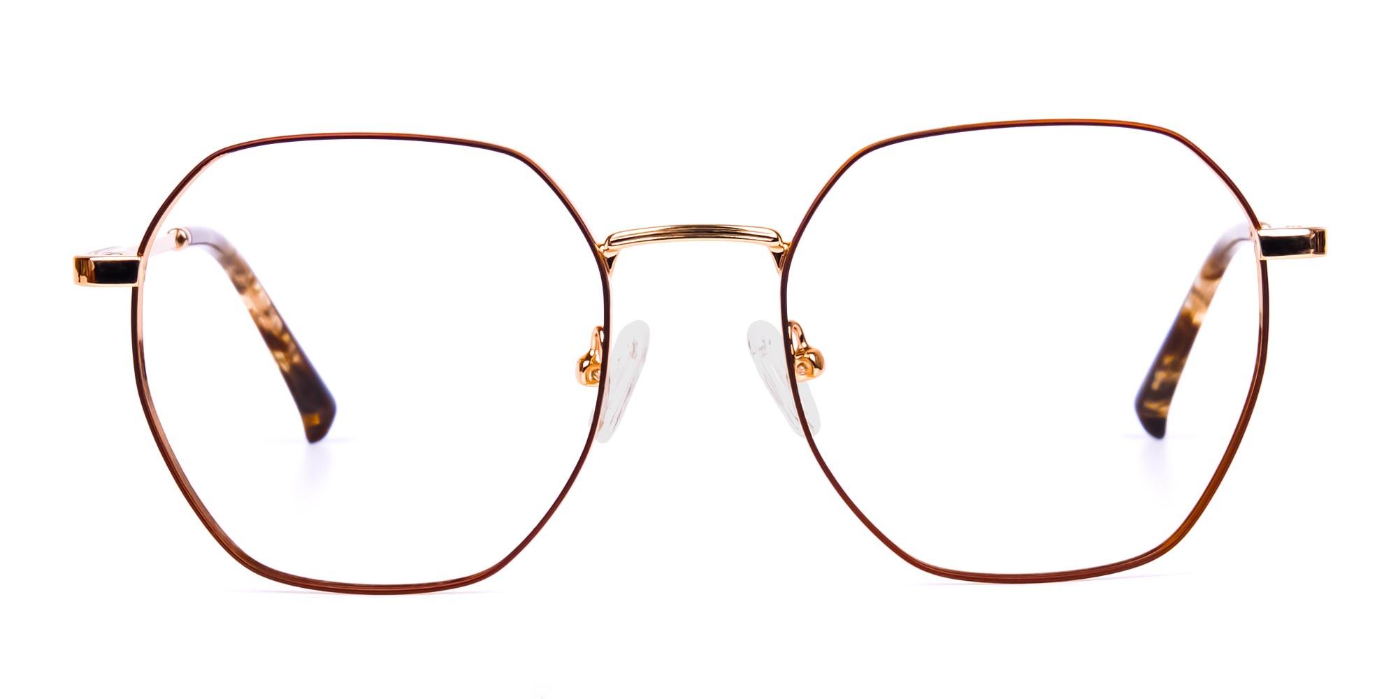Full Rim Brown & Gold Geometric Glasses Frames