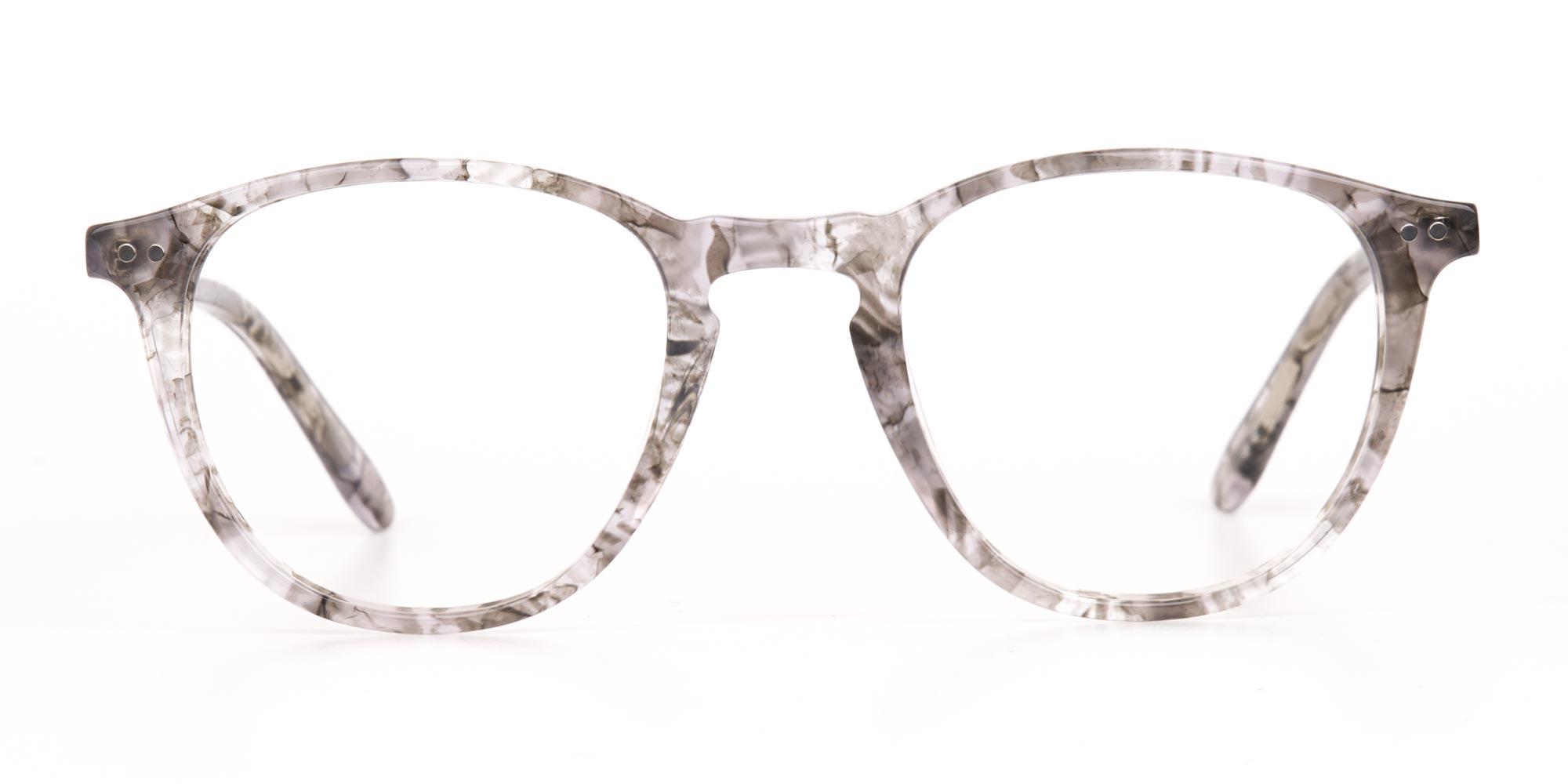 Silver Grey Marble Glasses in Wayfarer