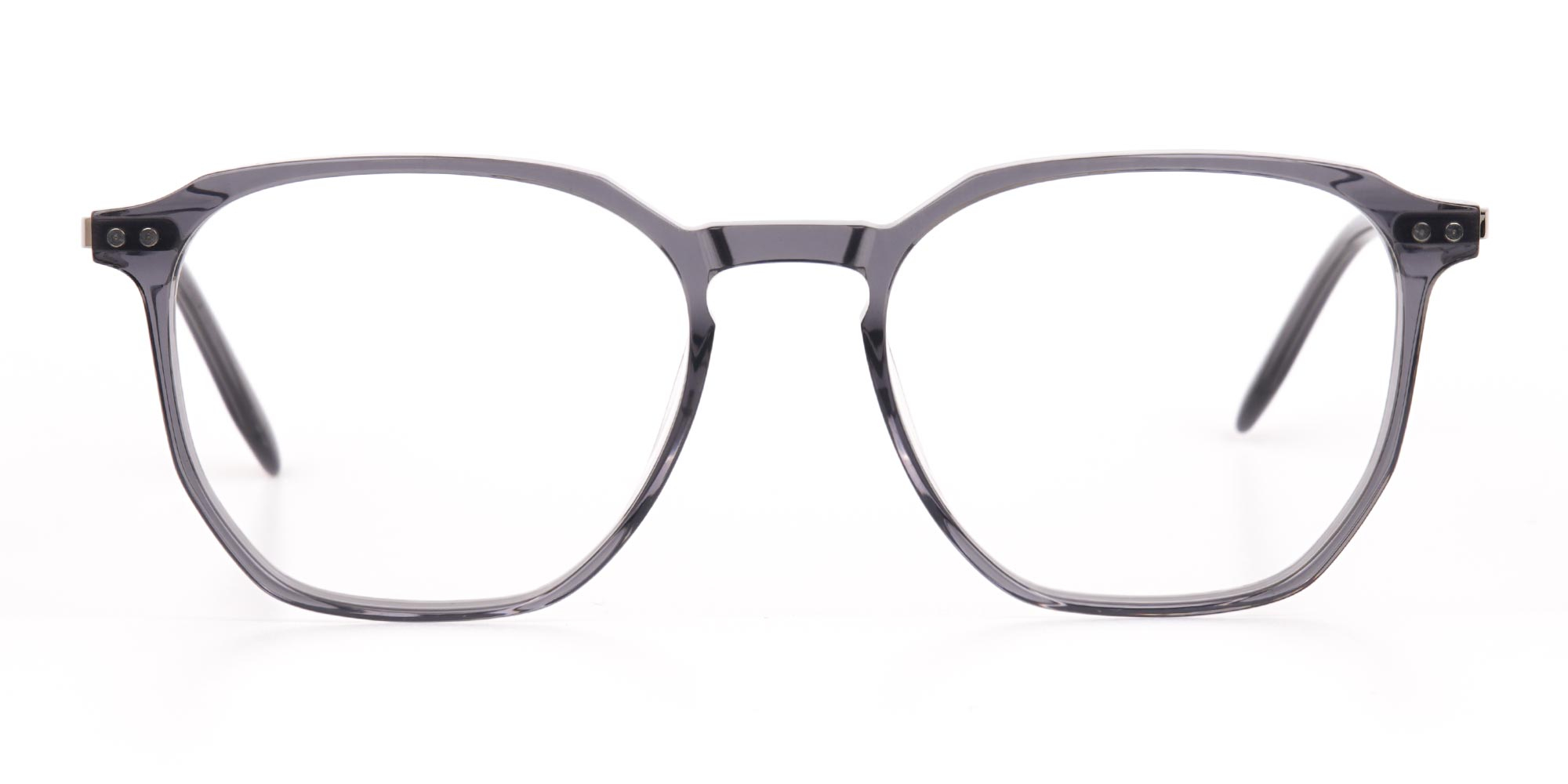 Silver Grey Geometric Eyeglasses Frame