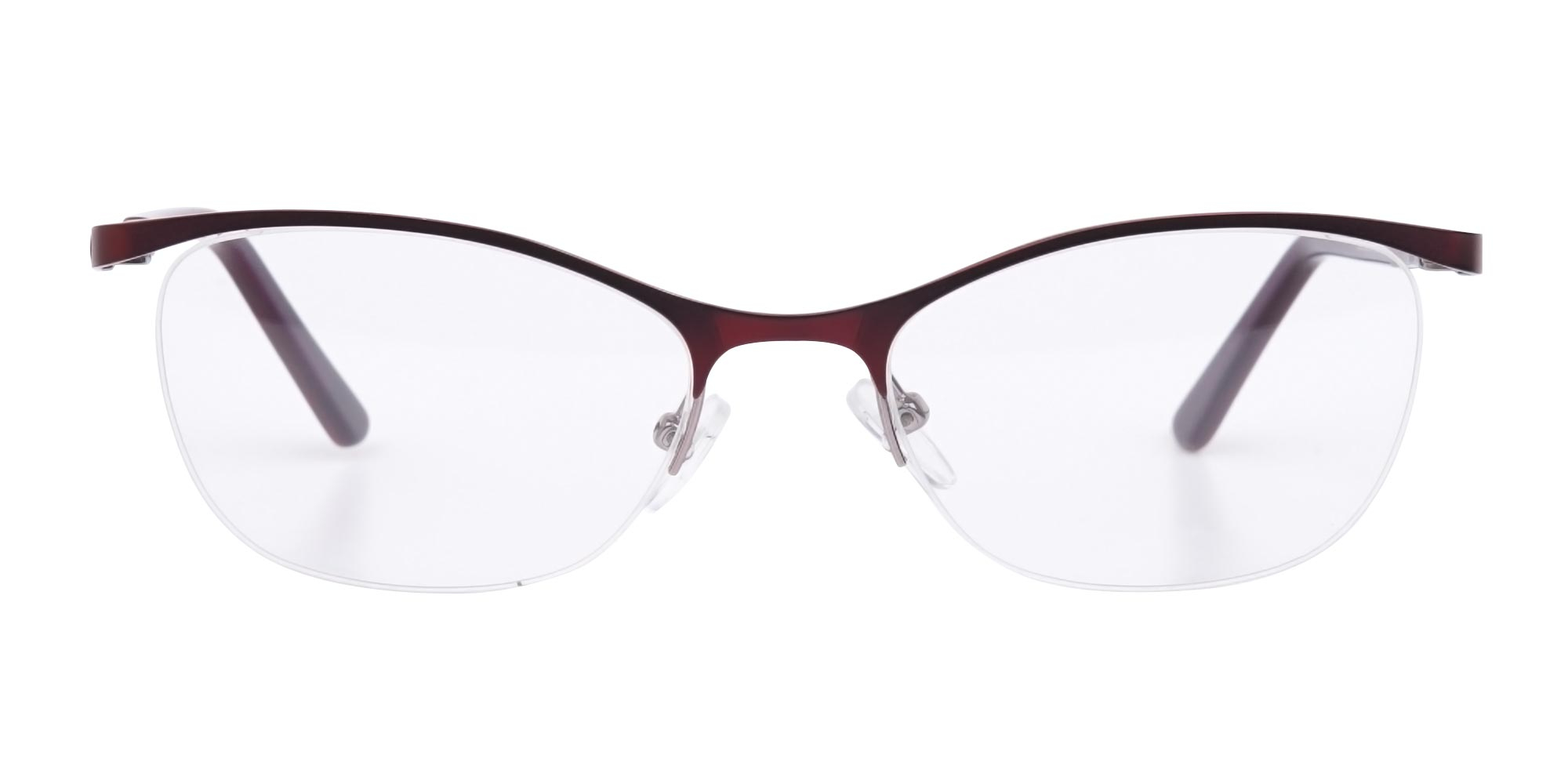 Oval Cat-Eye Glasses in Burgundy Red and Metal