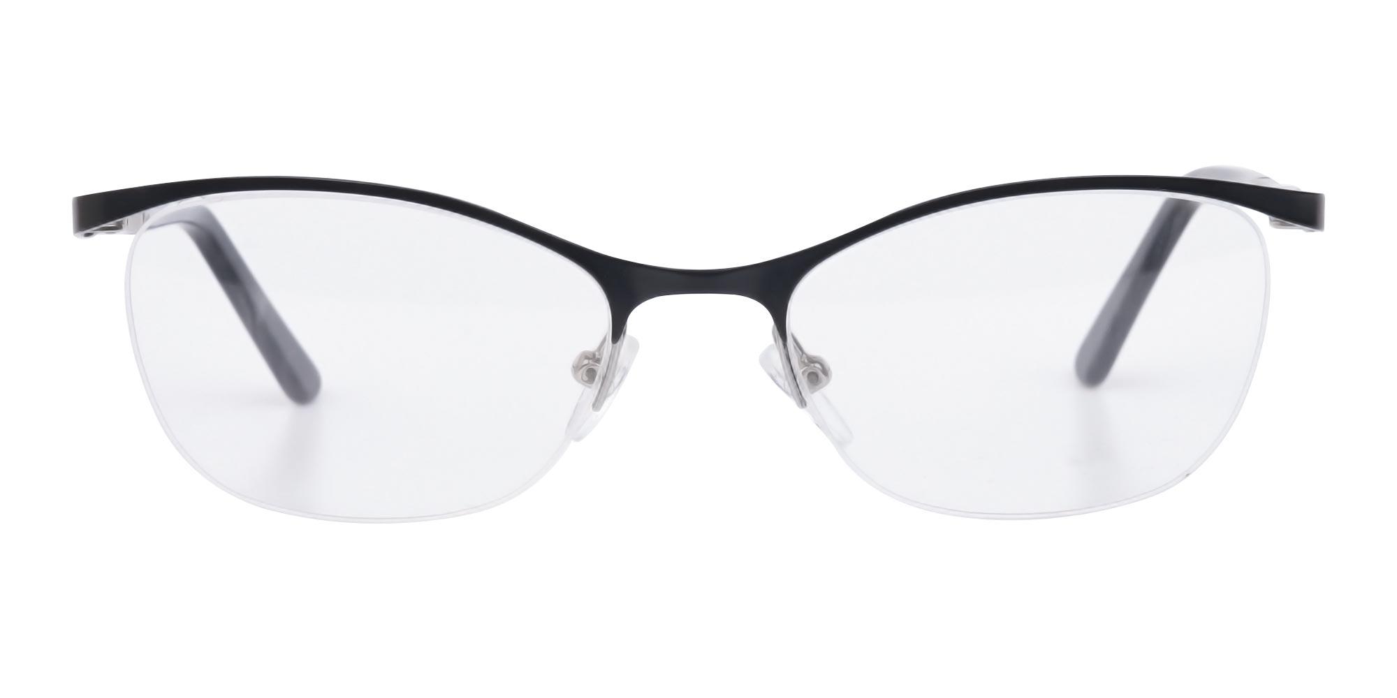Oval cat eyeglasses in Matte Black