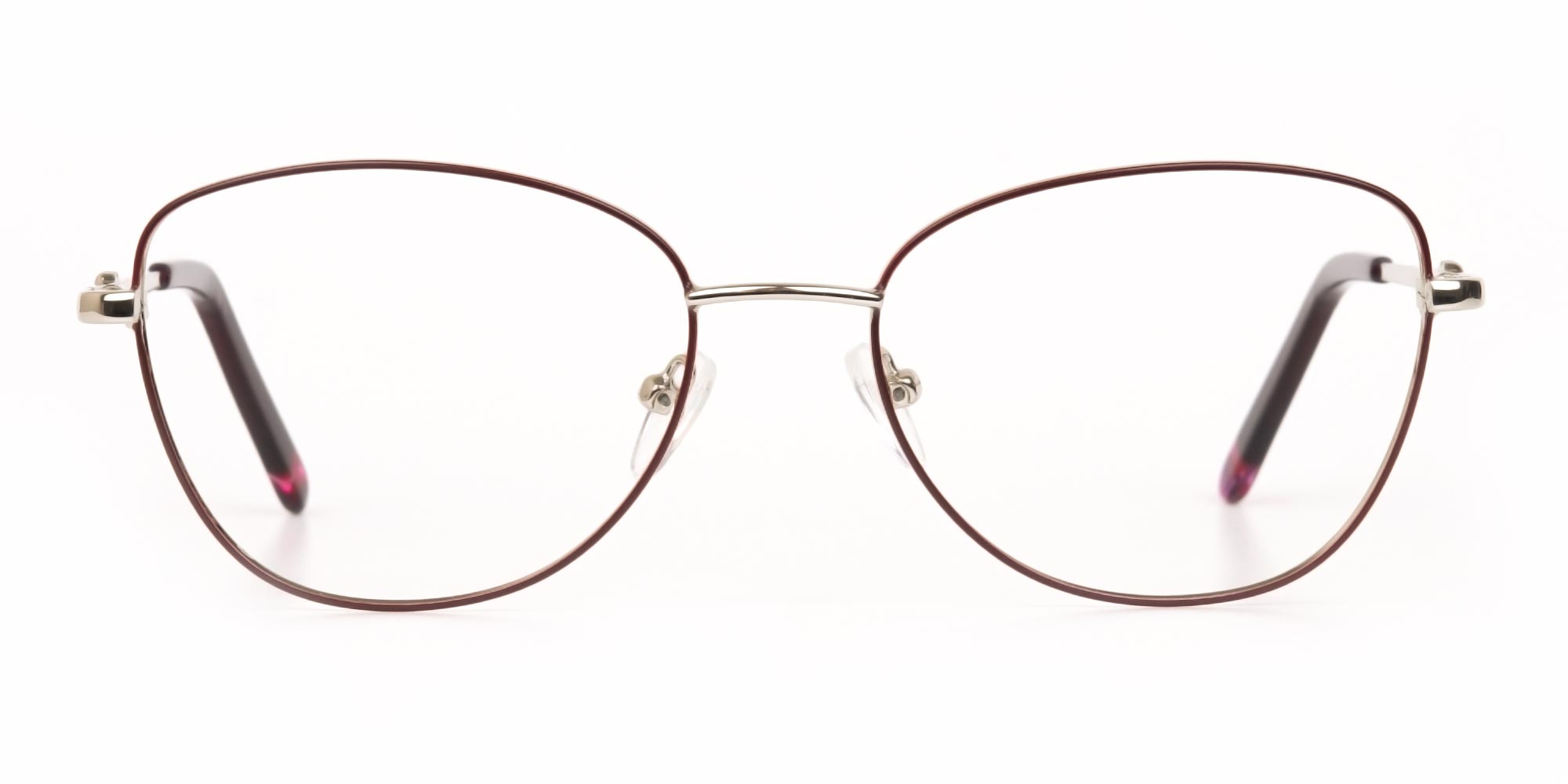 Burgundy and Silver Cateye Glasses