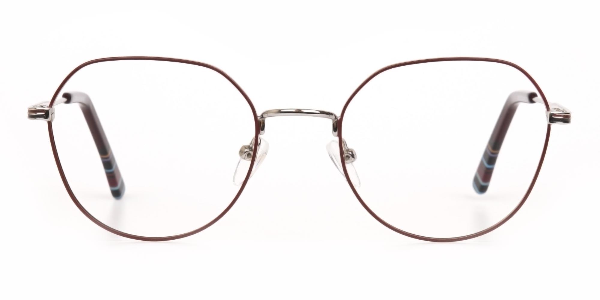 Oversized Wayfarer Glasses in Burgundy & Silver