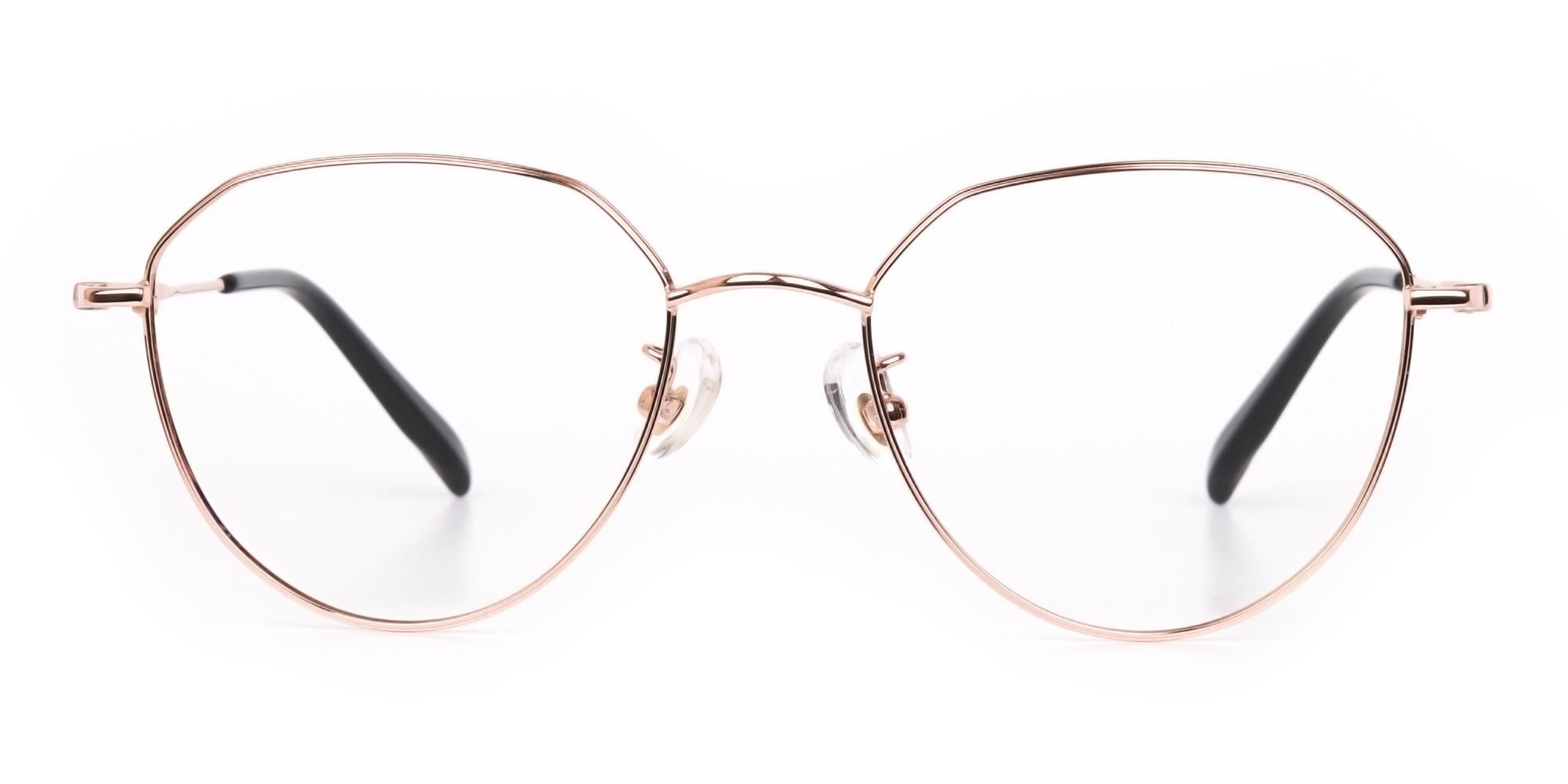 Rose Gold Aviator Glasses in Metal for Oval face shape
