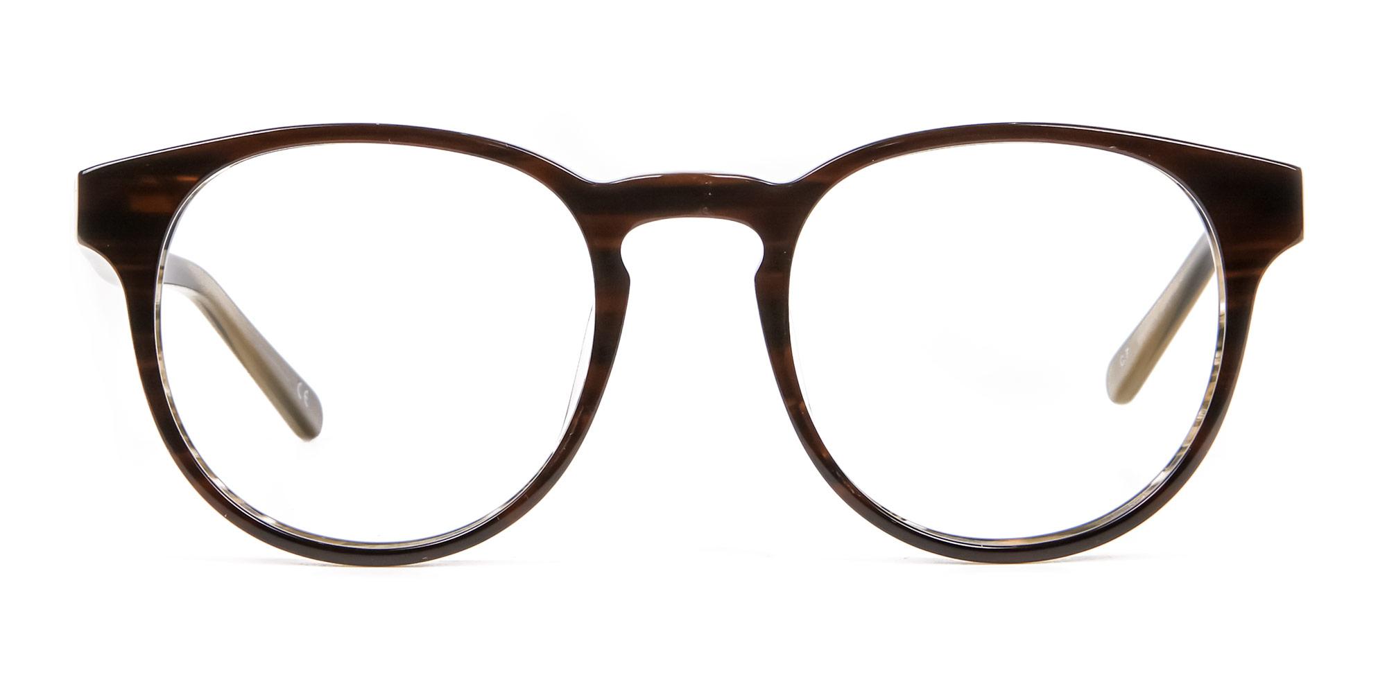 Dark Wooden Mahogany Brown Eyeglasses in Round