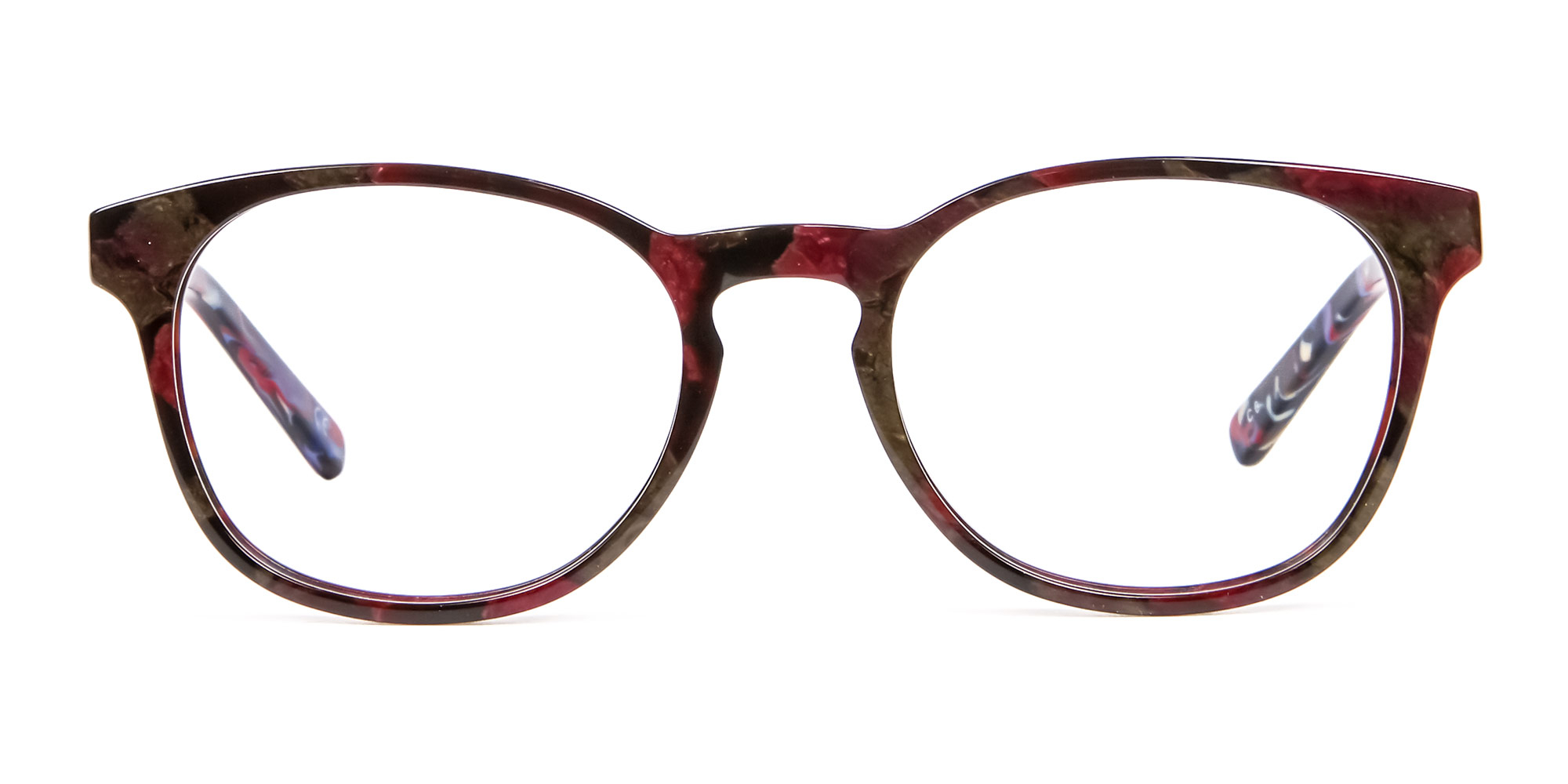 Marble Red and Blue Hipster Glasses