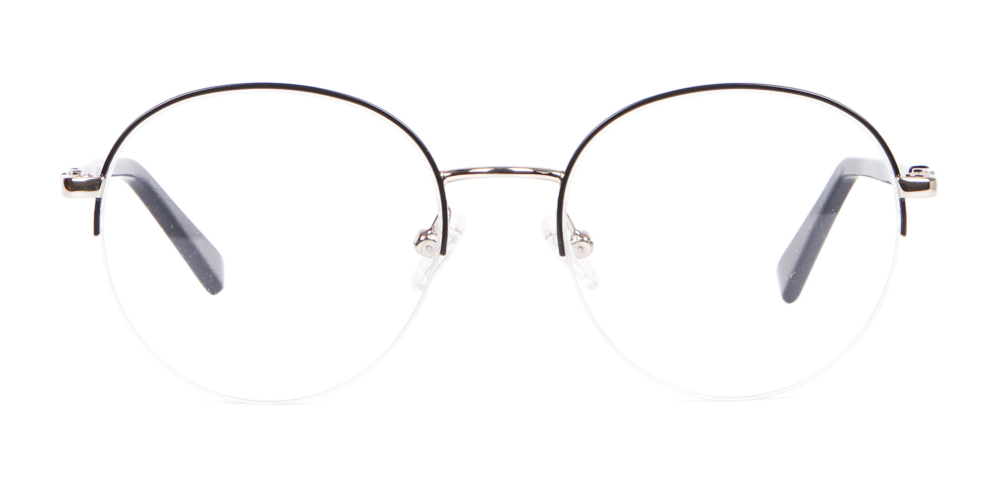 Silver and Black Glasses in Round for triangle face shape