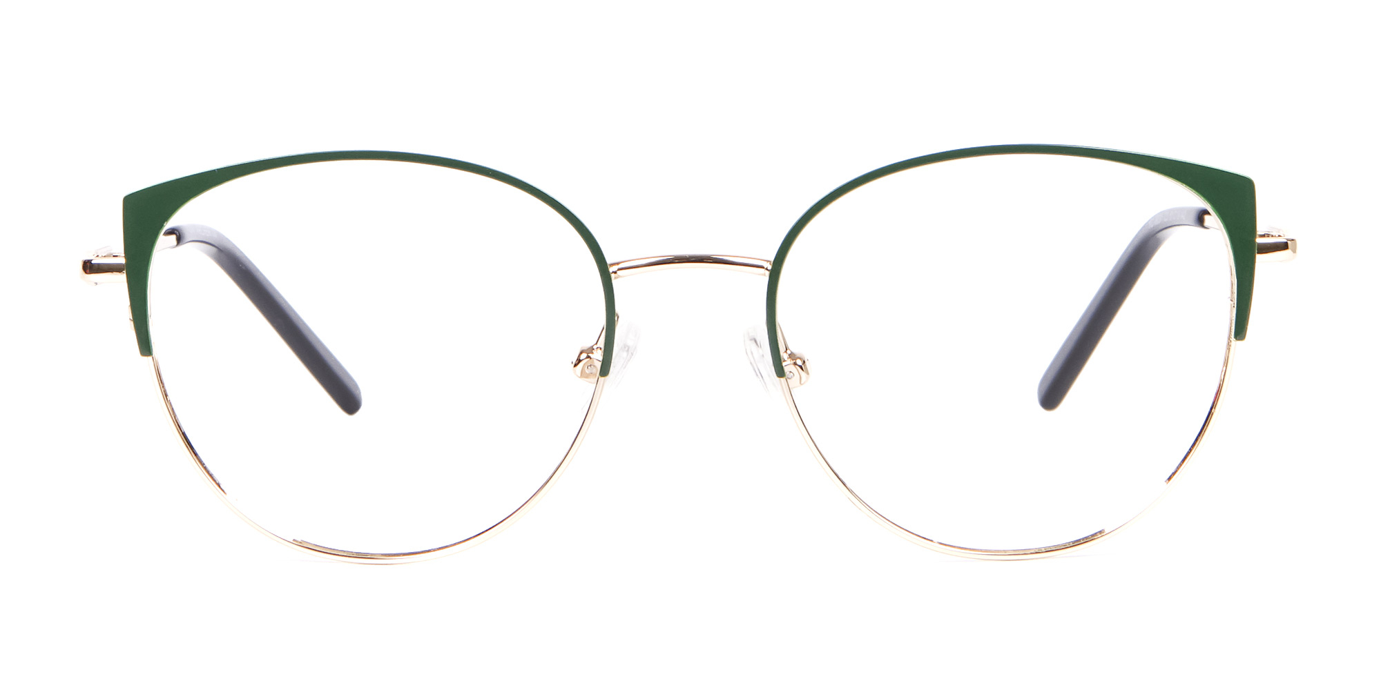 Gold and Hunter Green Metal Glasses in Round 2020 eyewear trends