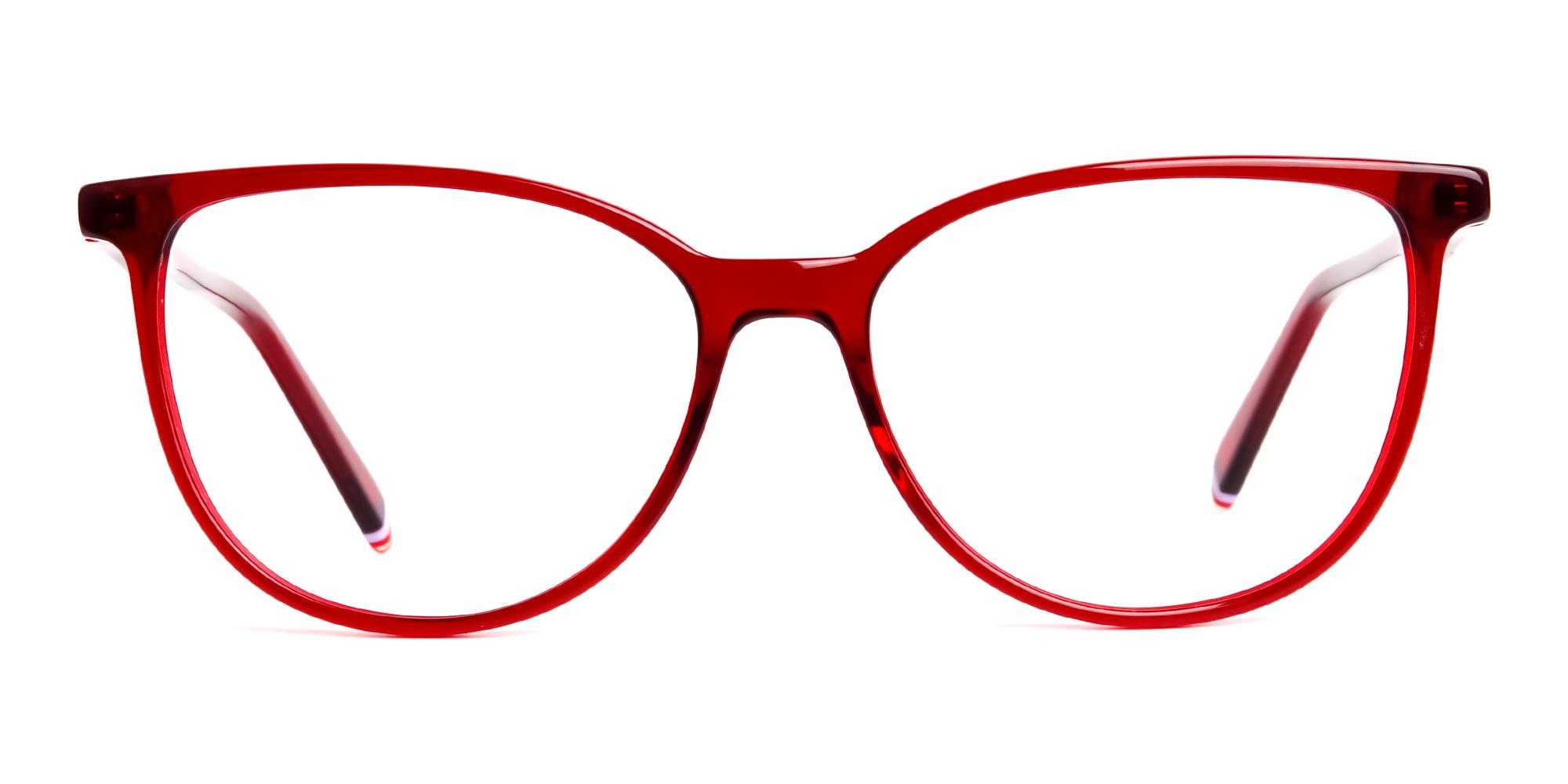 Dark Red Translucent Cat eye Glasses