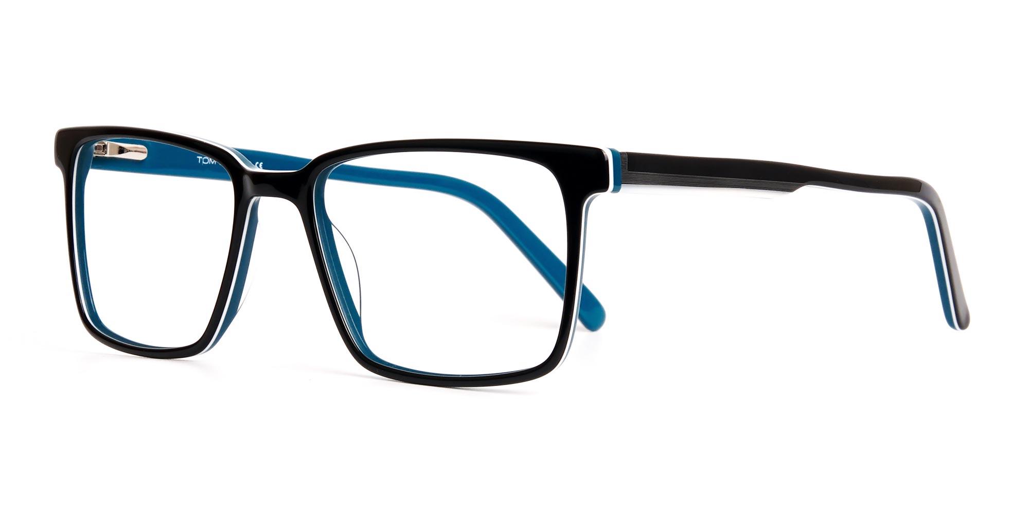 black-and-teal-designer-rectangular-glasses