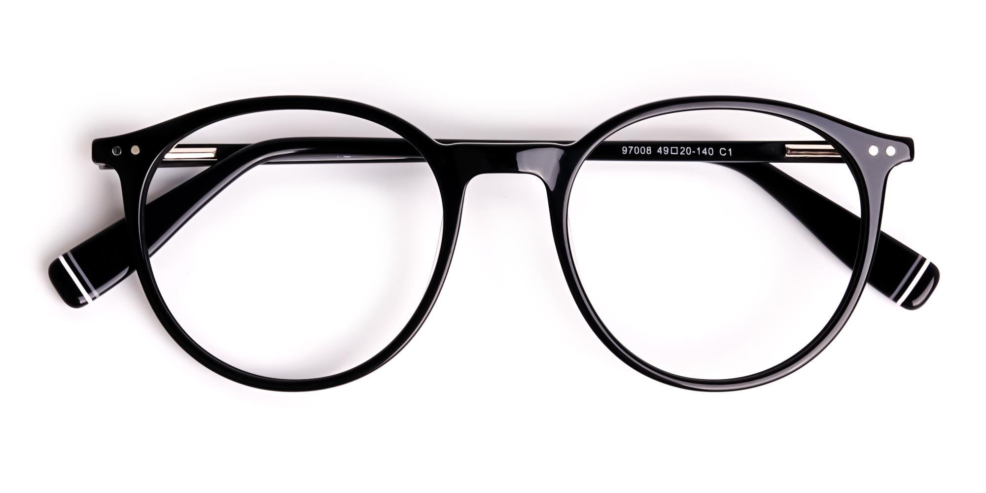 Black Round Spectacles with Silver Detailing Temple