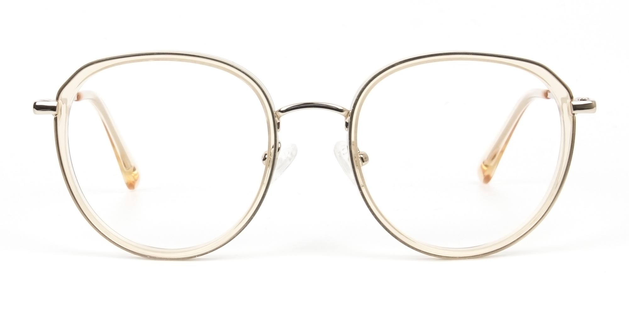 Rose Gold Thick Metal Round Glasses