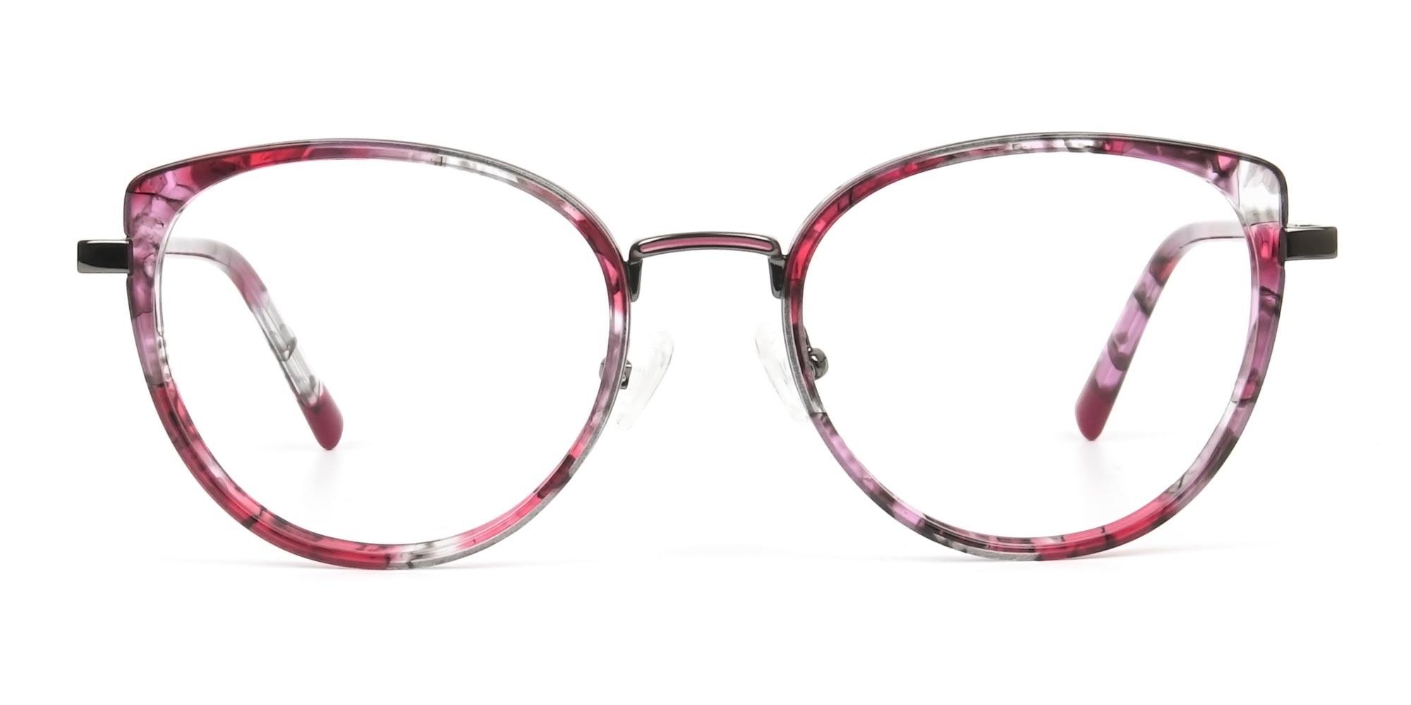 Red Tortoise Cat-Eye Round Glasses