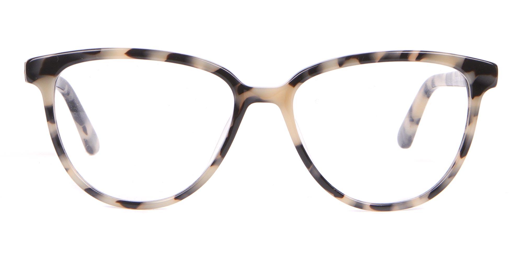 Calvin Klein Cream Tortoiseshell Glasses in Cat-Eye