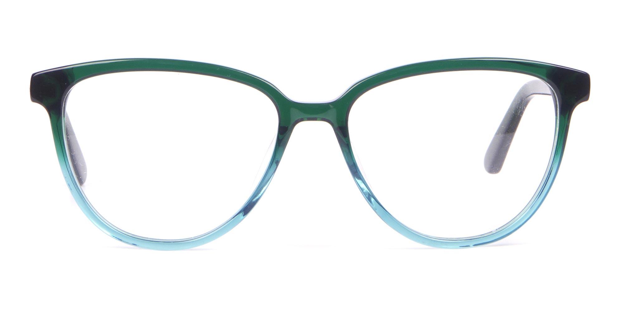 Calvin Klein Teal Green Cat-Eye Glasses