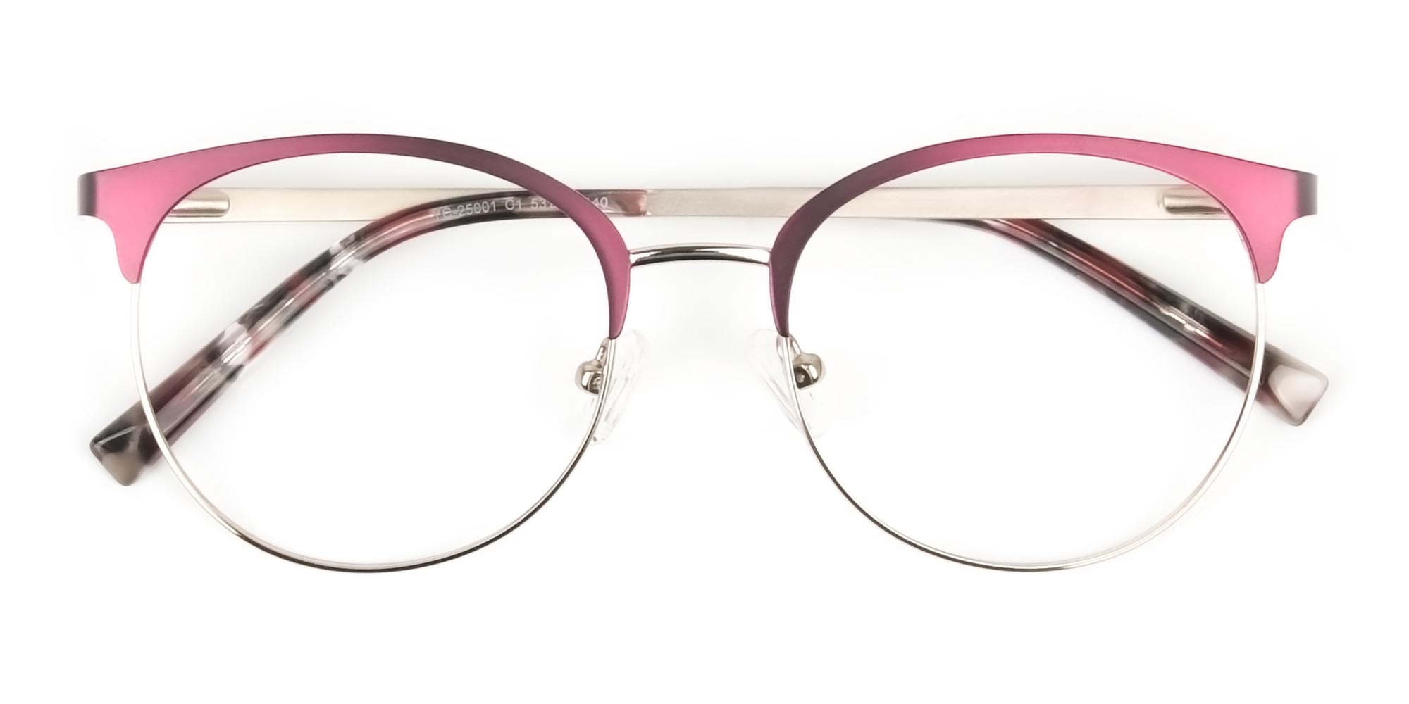 Gold Burgundy Red Clubmaster Glasses