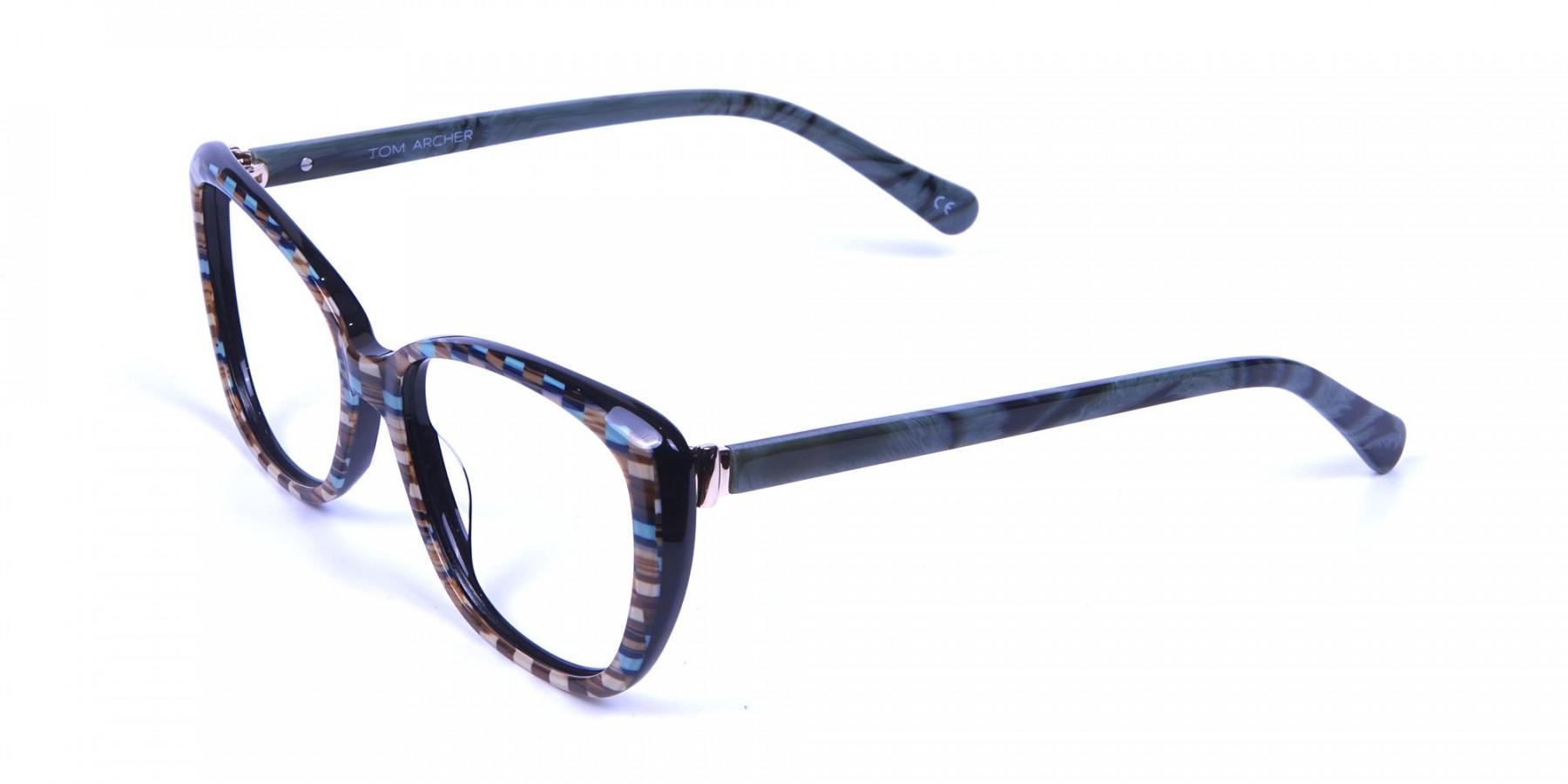 Beige & Mint Cat eye Glasses for Women