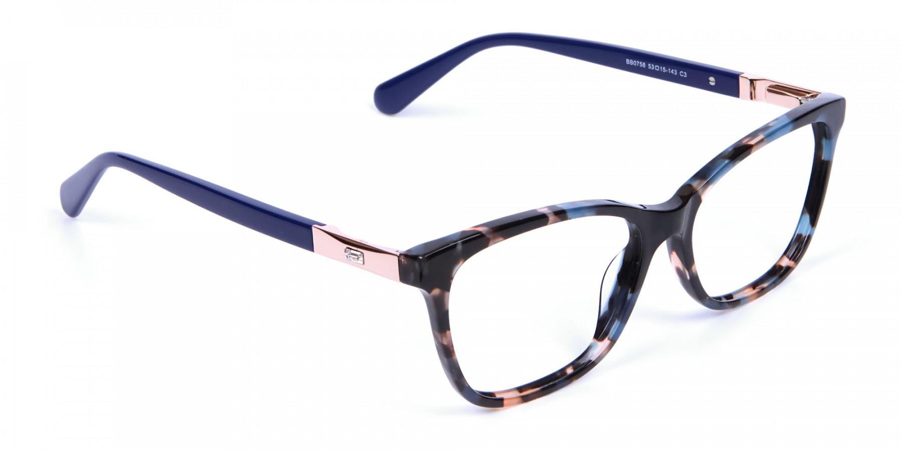 Blue Tortoiseshell Cat Eye Glasses for Women