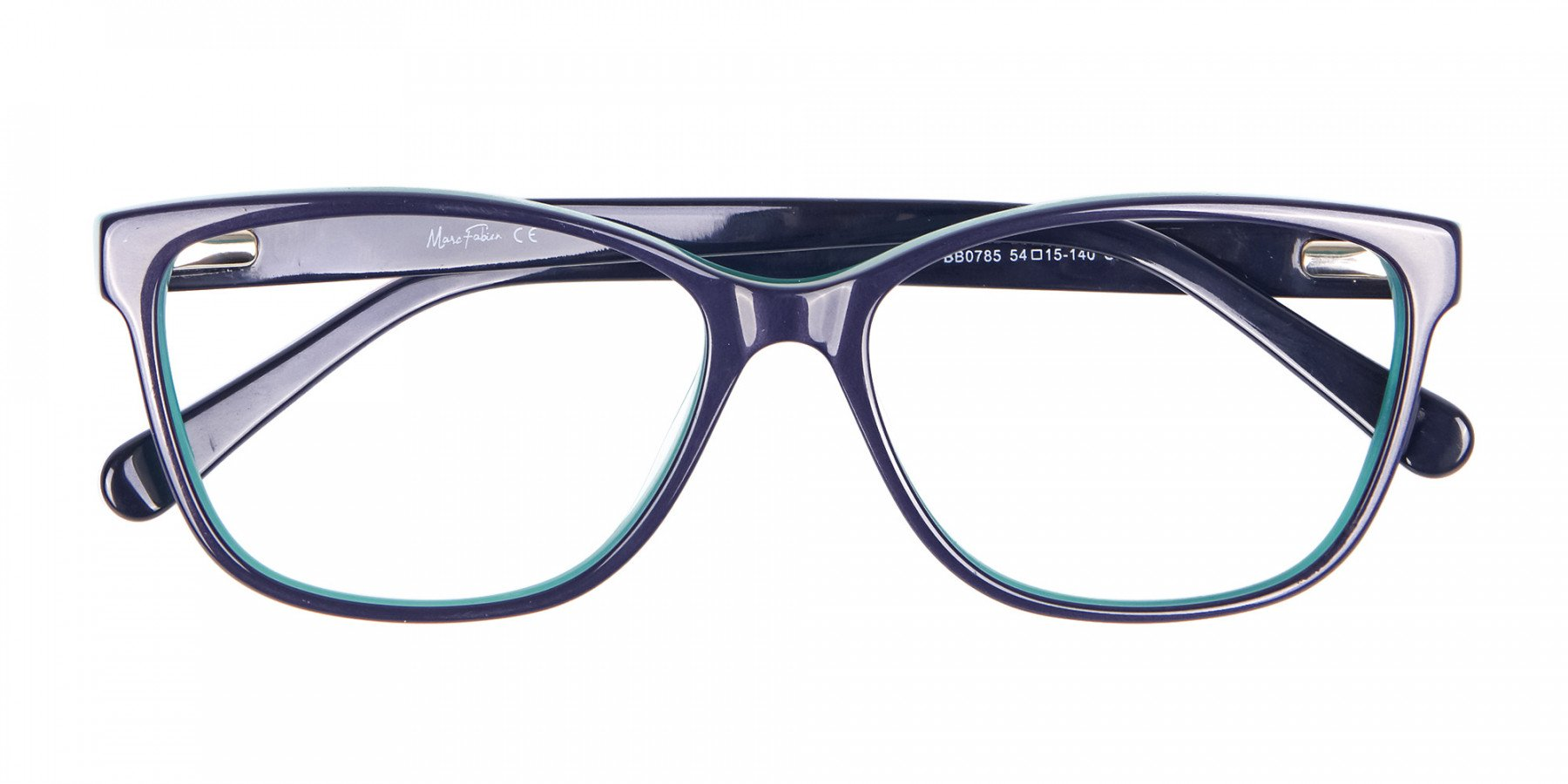 Navy Blue Rectangular Glasses With Flowery Printing - 1