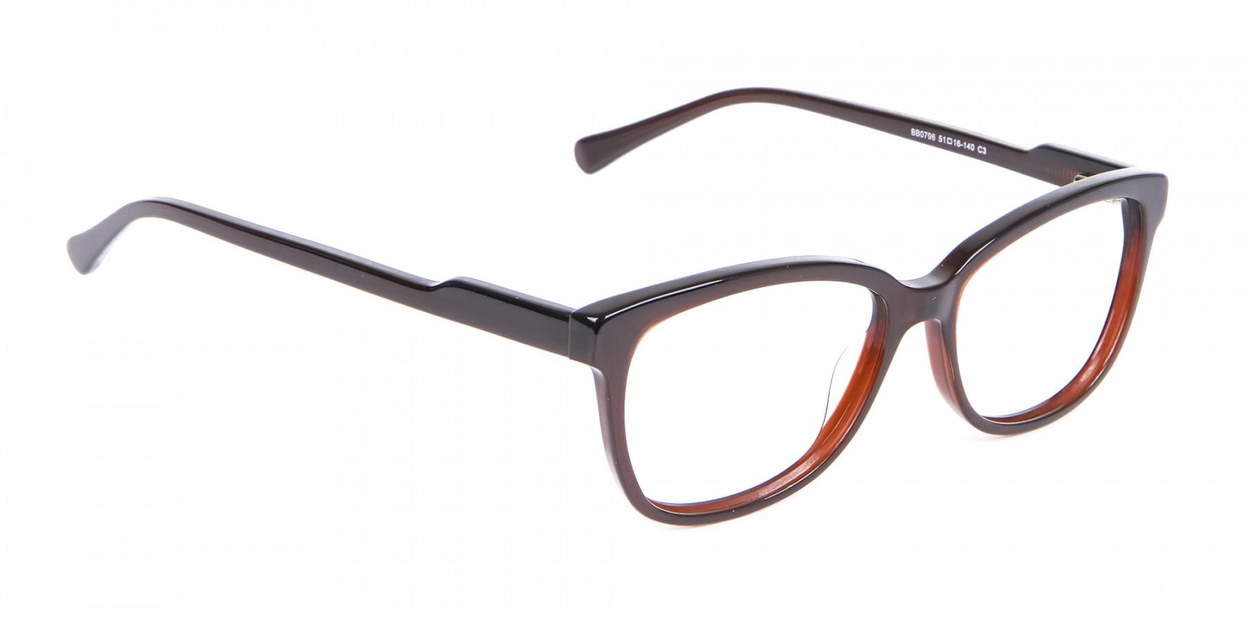 Brown Unisex Rectangle Frame UK-1
