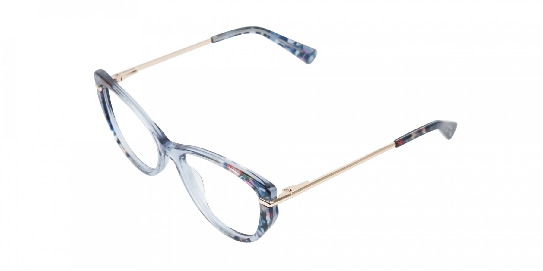 Crystal Blue Cat-Eye Glasses Gold Temple-1