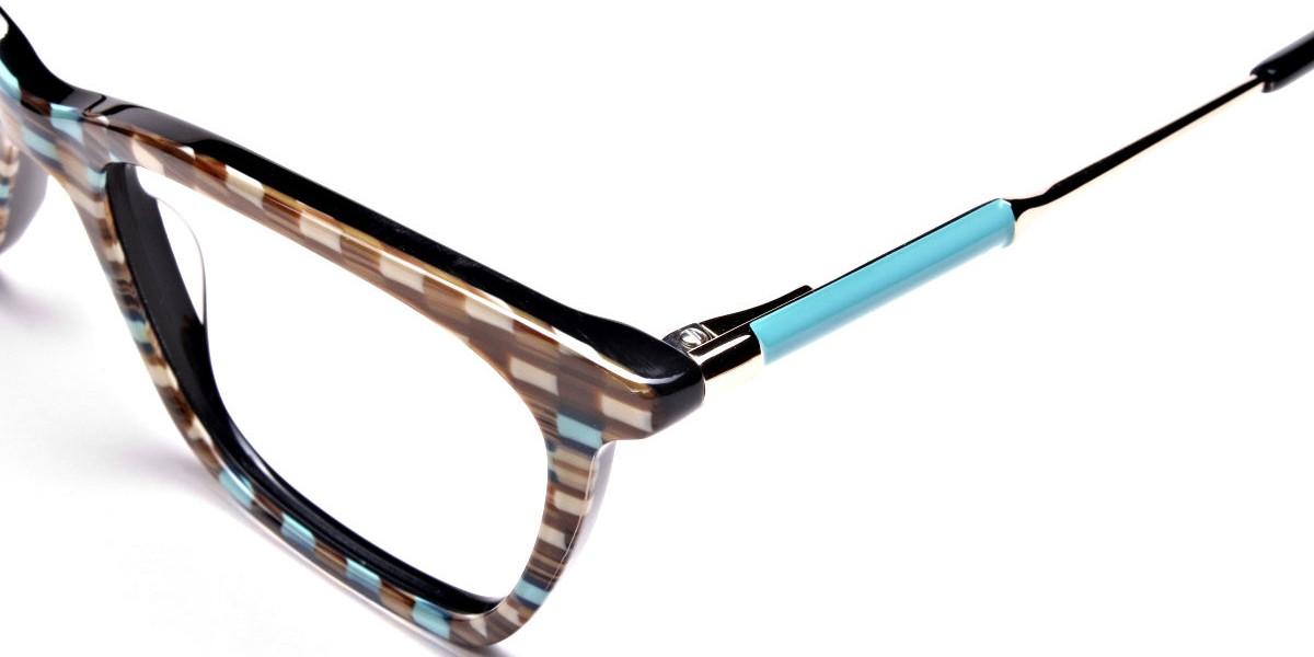 Beige & Mint Retro Glasses