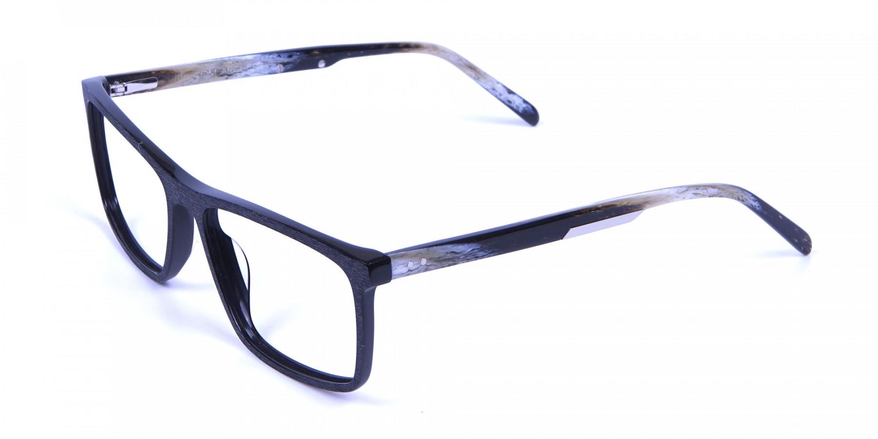 Wooden Texture Black Rectangular Glasses