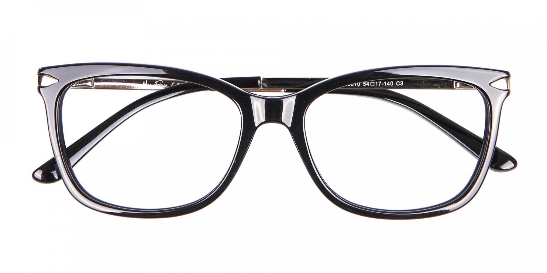 Ladies Mordern Rectangular Glasses in Black- 1