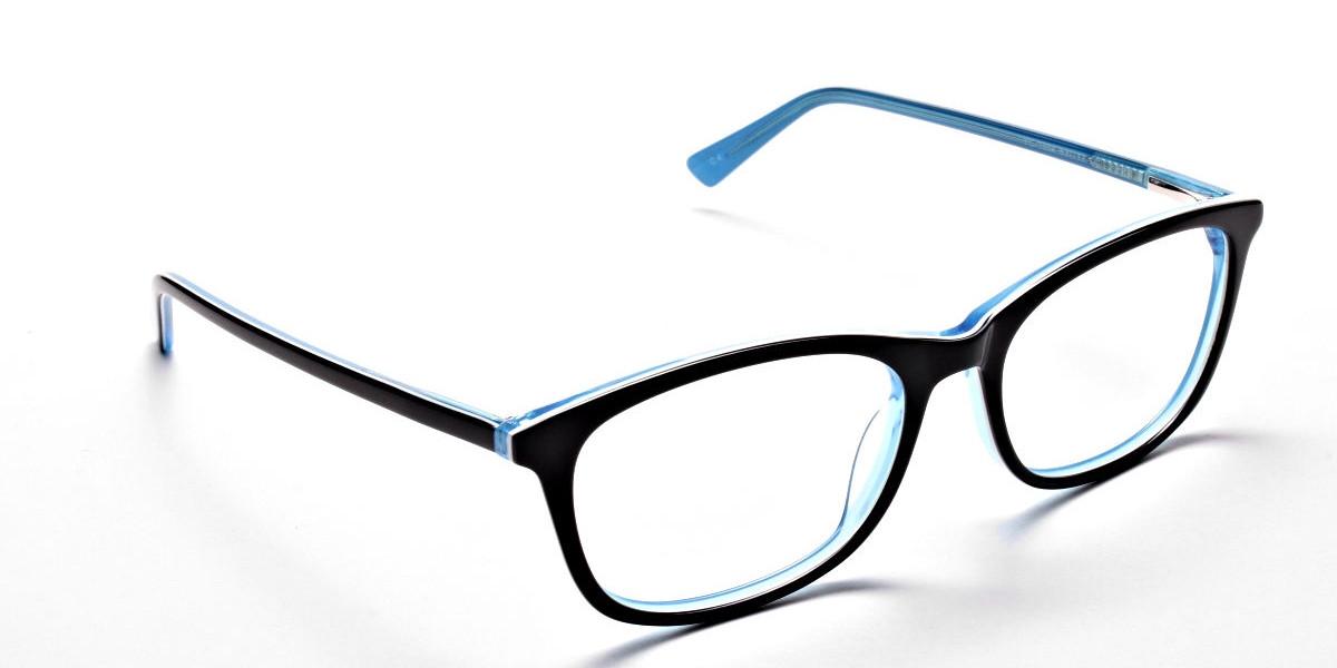 Black & Sky Blue Glasses