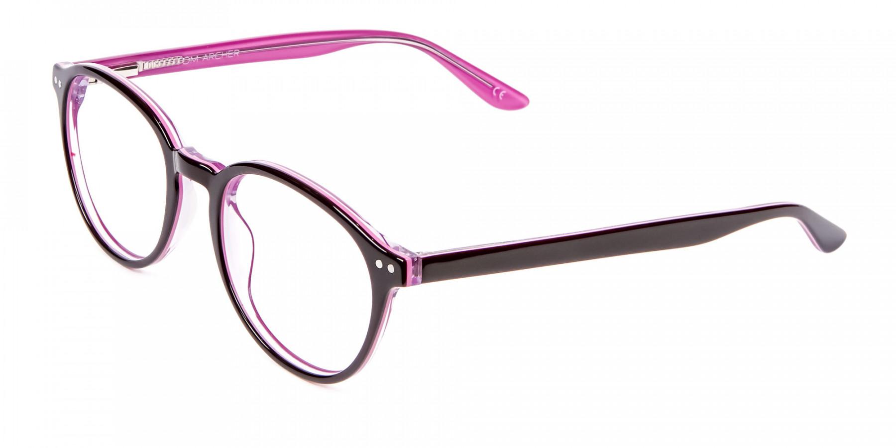 Ladies' Pink Round Glasses - 1