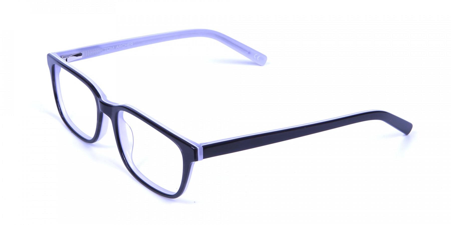 Unisex Black & White Rectangular Glasses