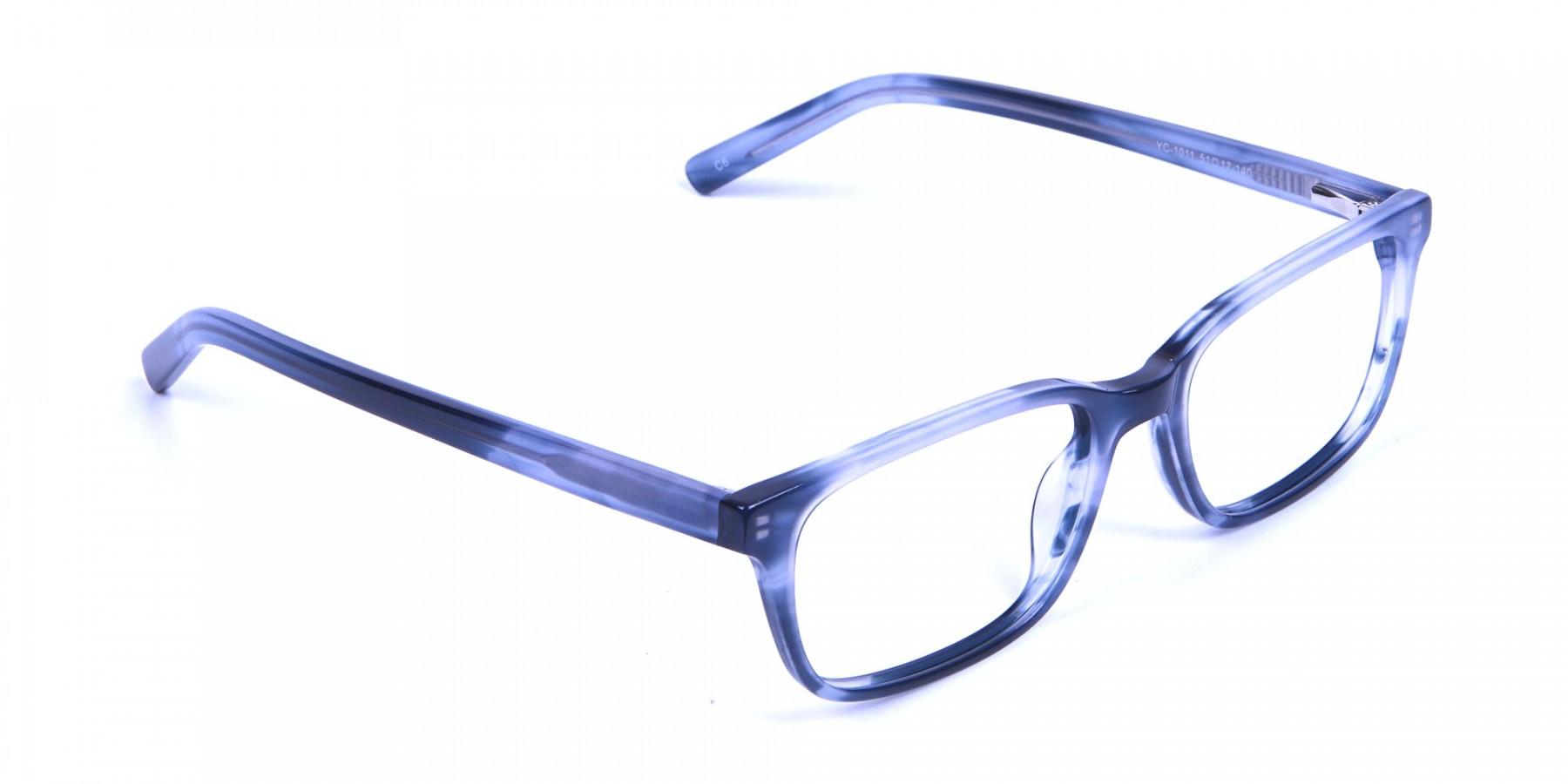 Tortoiseshell Blue Rectangular Glasses