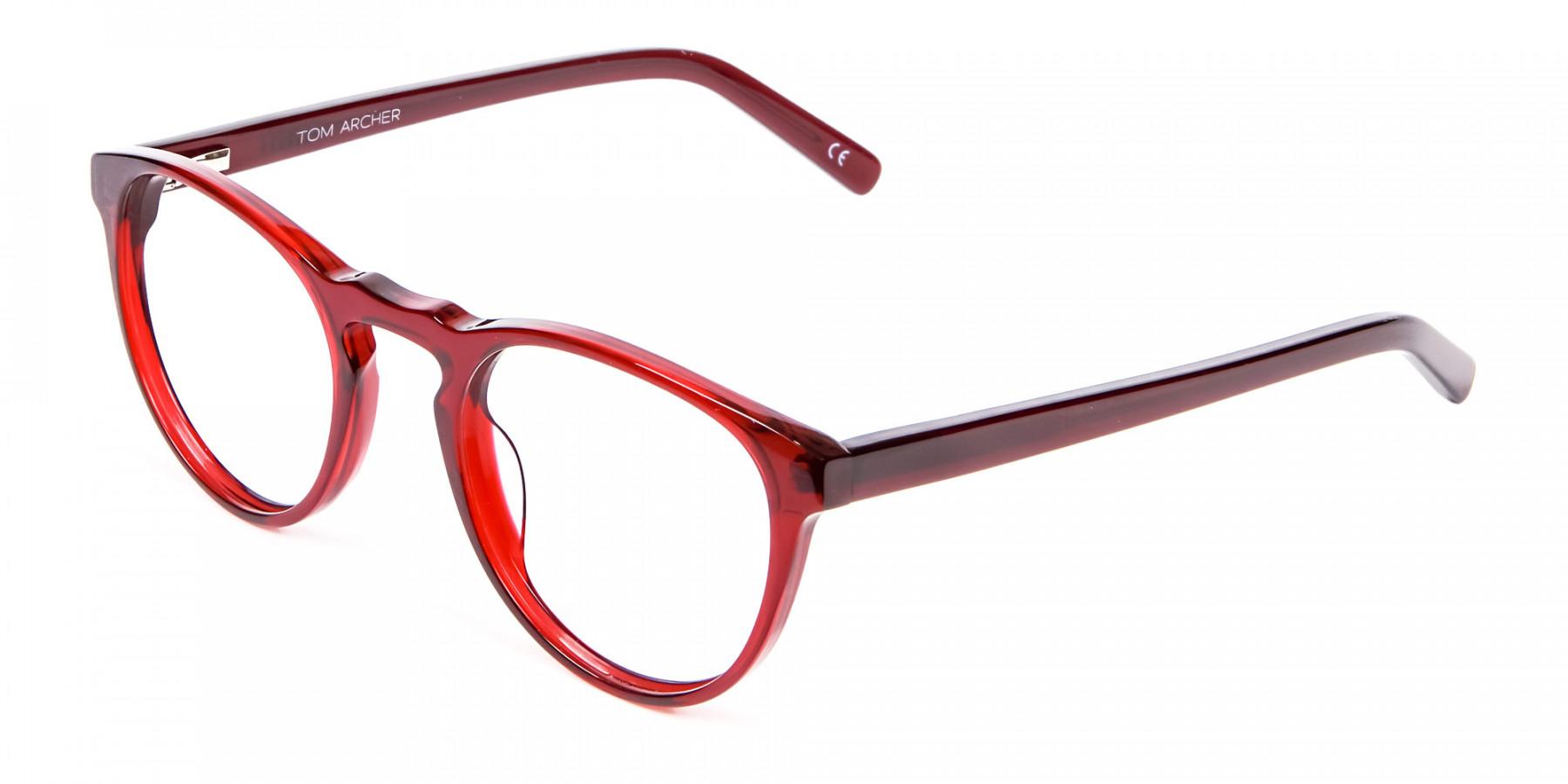 Cherry Red Round Glasses -1