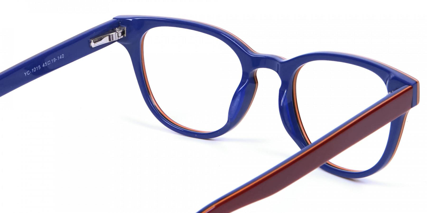 Mahogany Blue and Orange Glasses