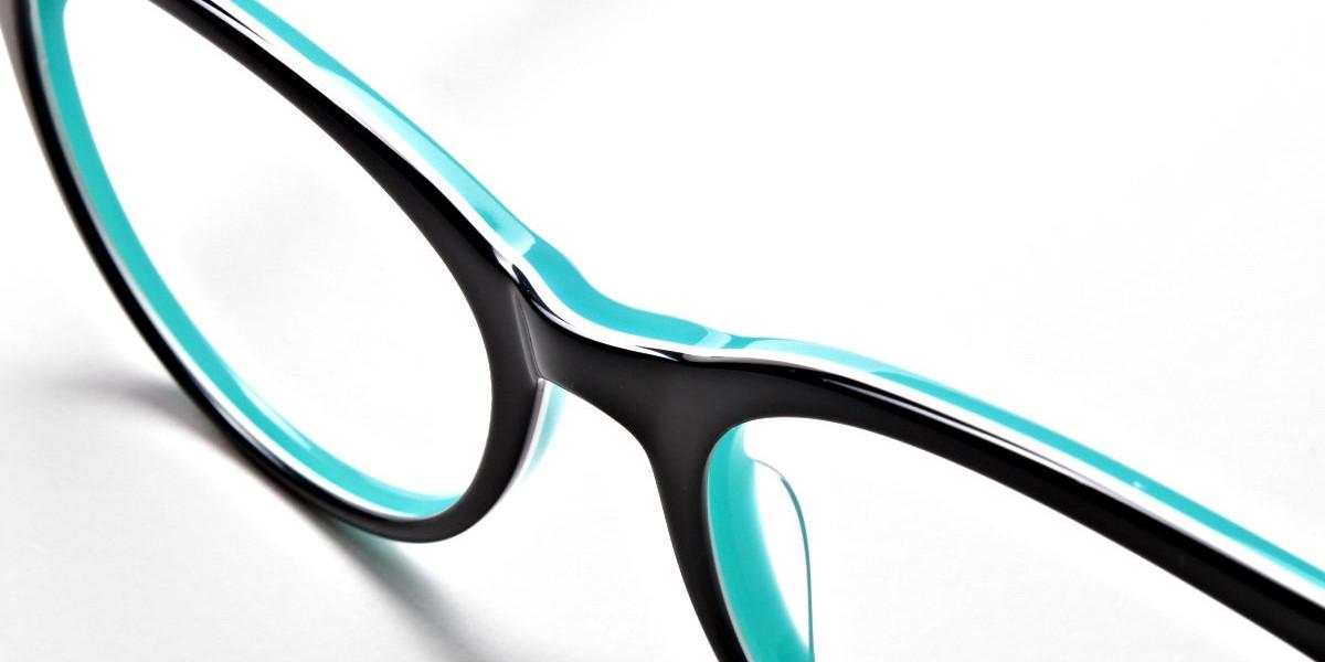 Black & Mint Round Eyeglasses