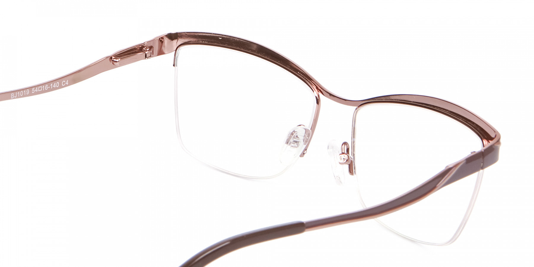 Glossy Brown Browline Half-Rimmed Glasses-1